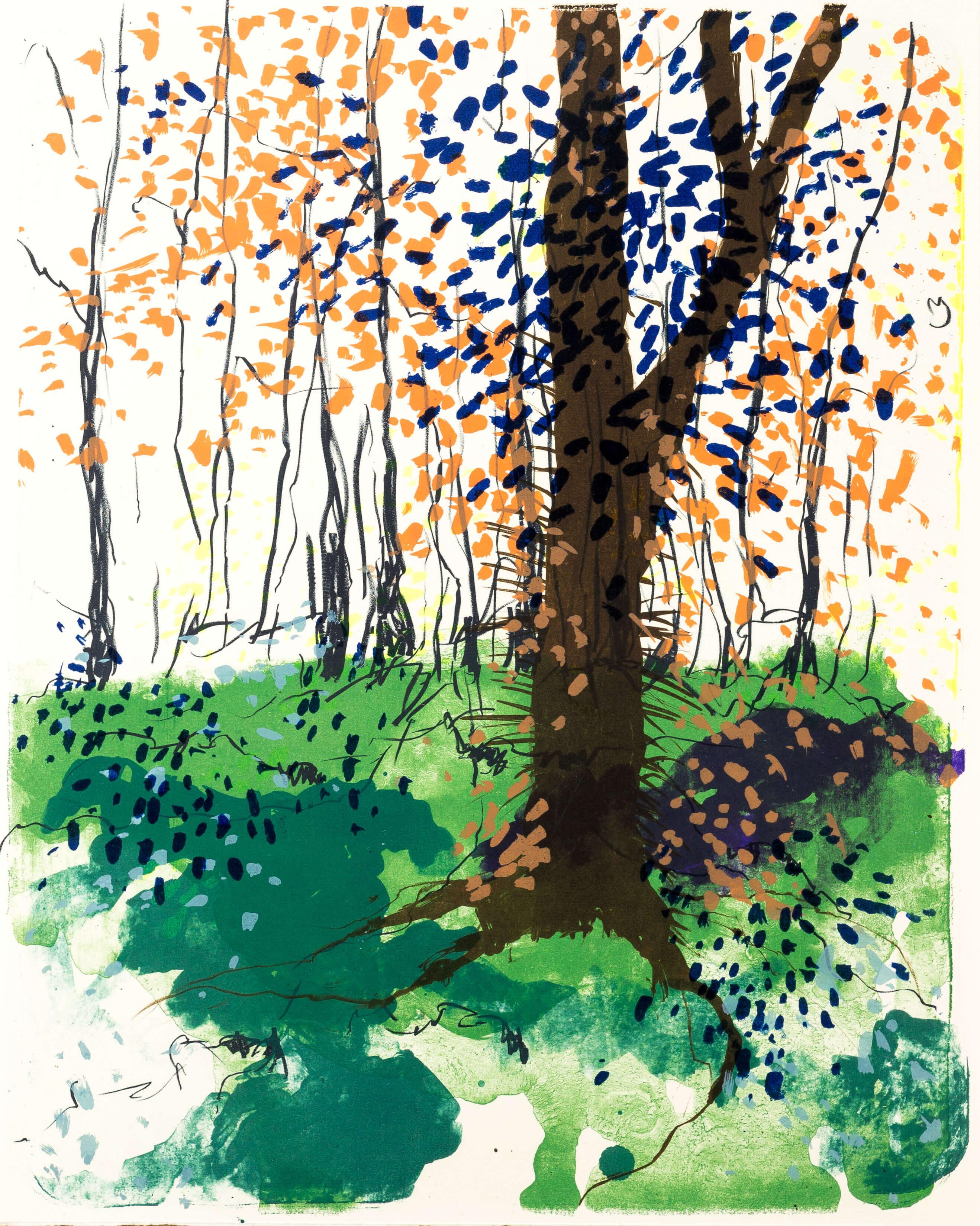 Katharina Albers, Wald X(N)-VI, 2015, Farblithographie, Unikat, 50x40 cm