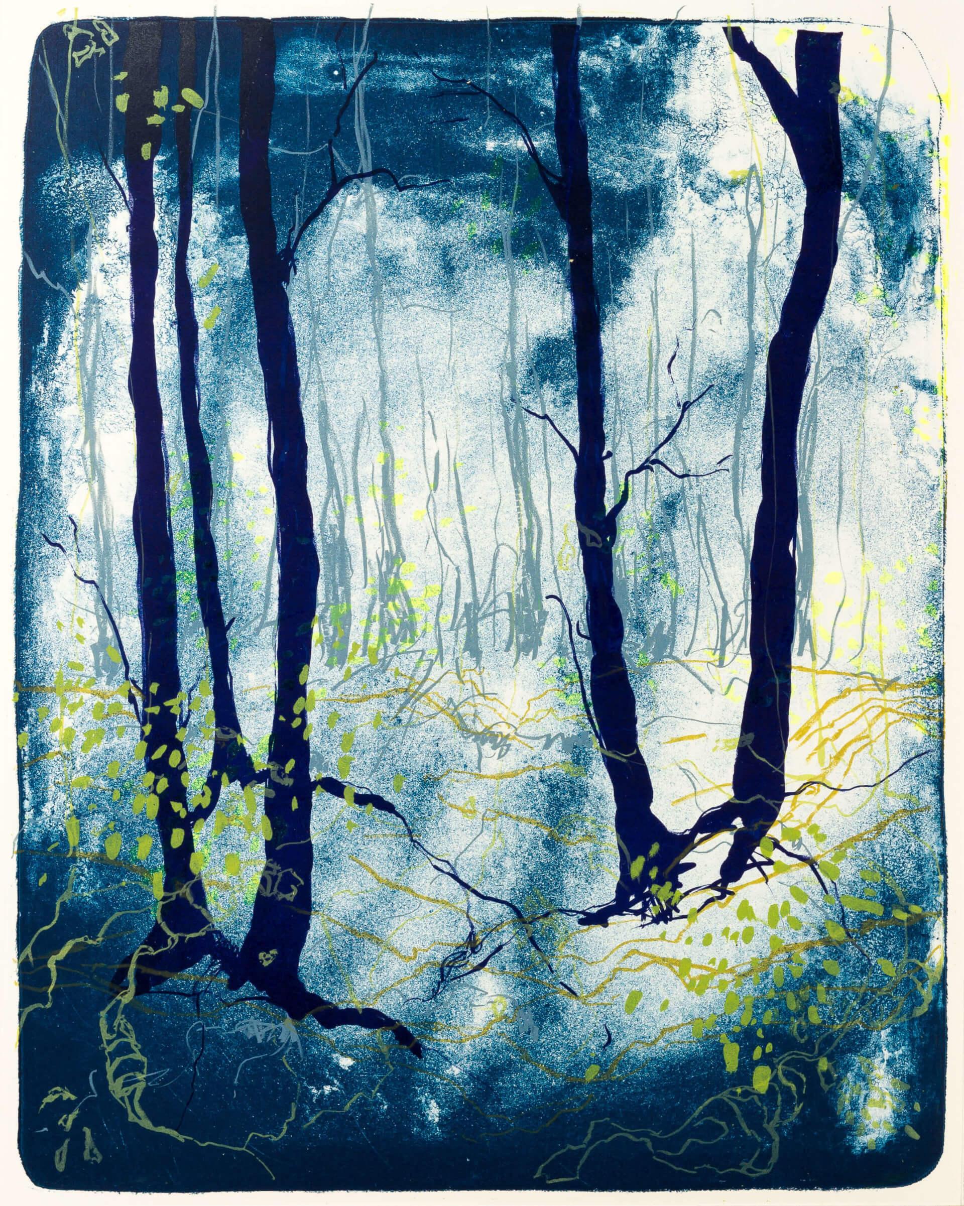 Katharina Albers, Wald X(N)-VII, 2015, Farblithographie, Unikat 50x40 cm