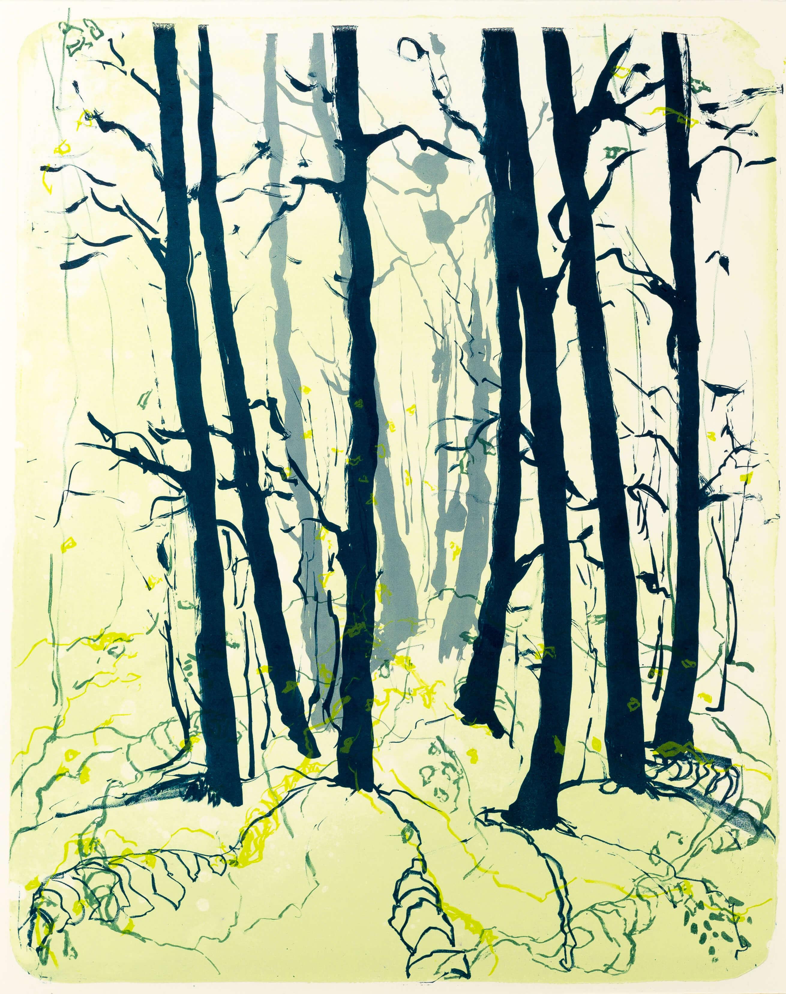 Katharina Albers, Wald X(N)-X, 2015, Farblithographie, Unikat, 50x40 cm