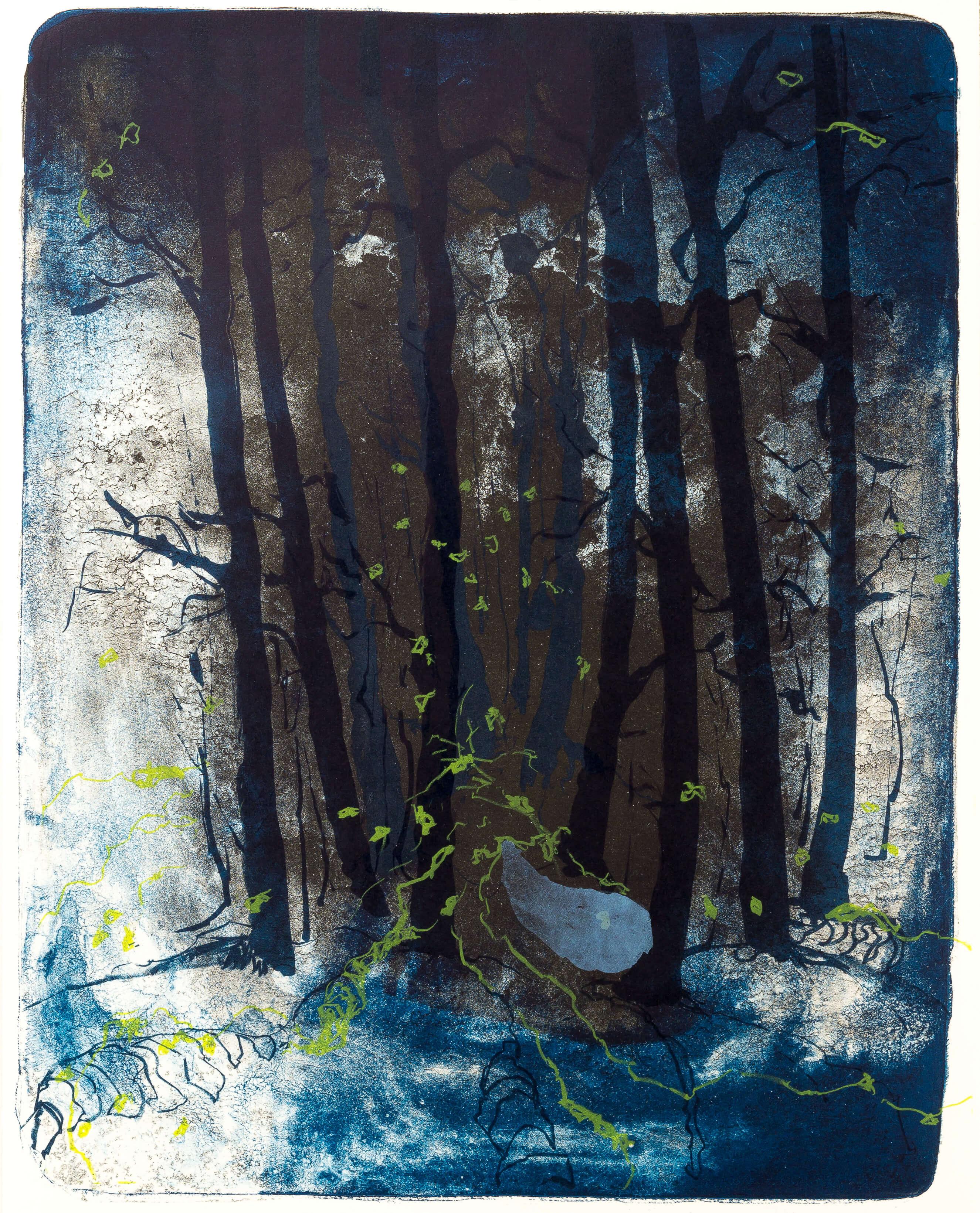 Katharina Albers, Wald X(N)-XIII, 2015, Farblithographie, Unikat, 50x40 cm