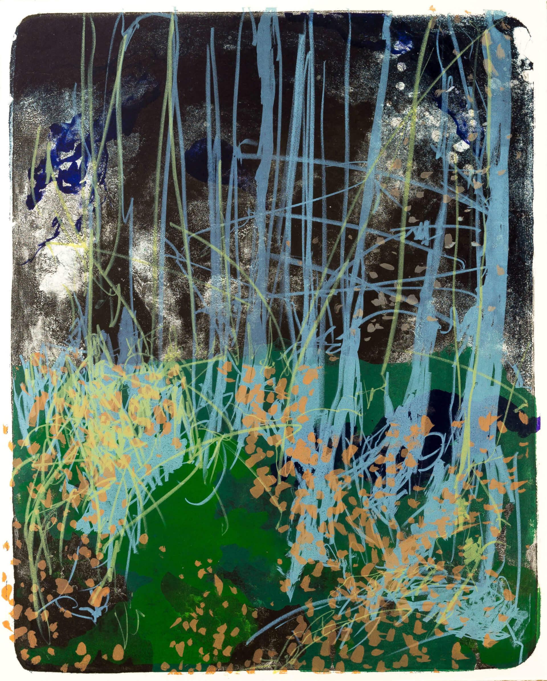 Katharina Albers, Wald X(N)-XIV, 2015, Farblithographie, Unikat, 50x40 cm
