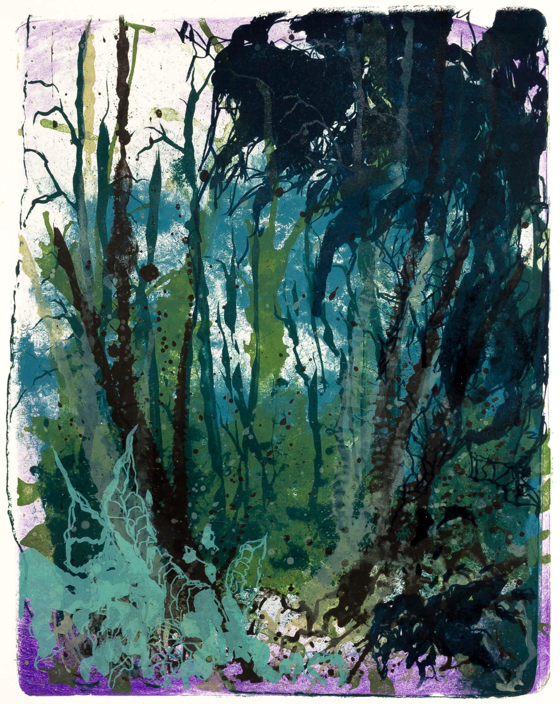 Katharina Albers, Wald X(N)-XVII, 2016, Farblithographie, 50x40 cm, Unikat