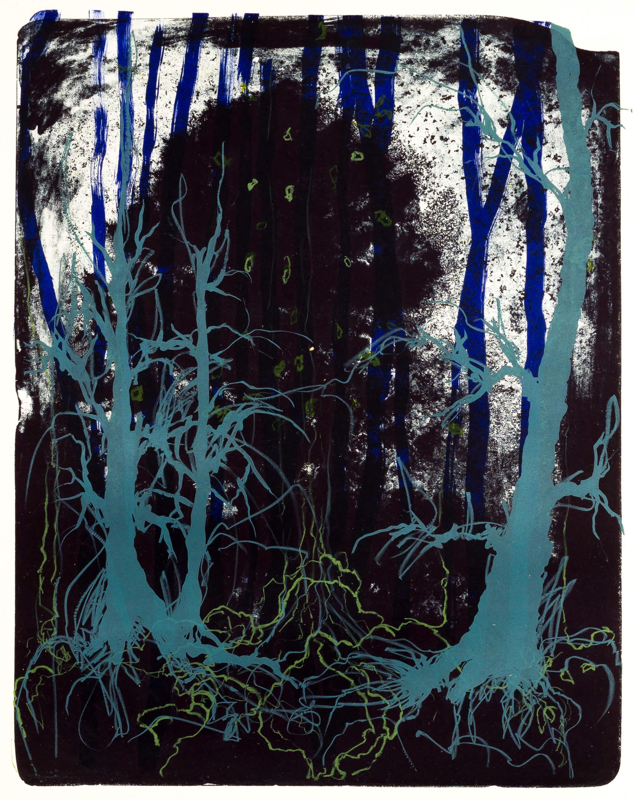 Katharina Albers, Wald X(N)-XXI, 2016, Farblithographie, 50x40 cm, Unikat