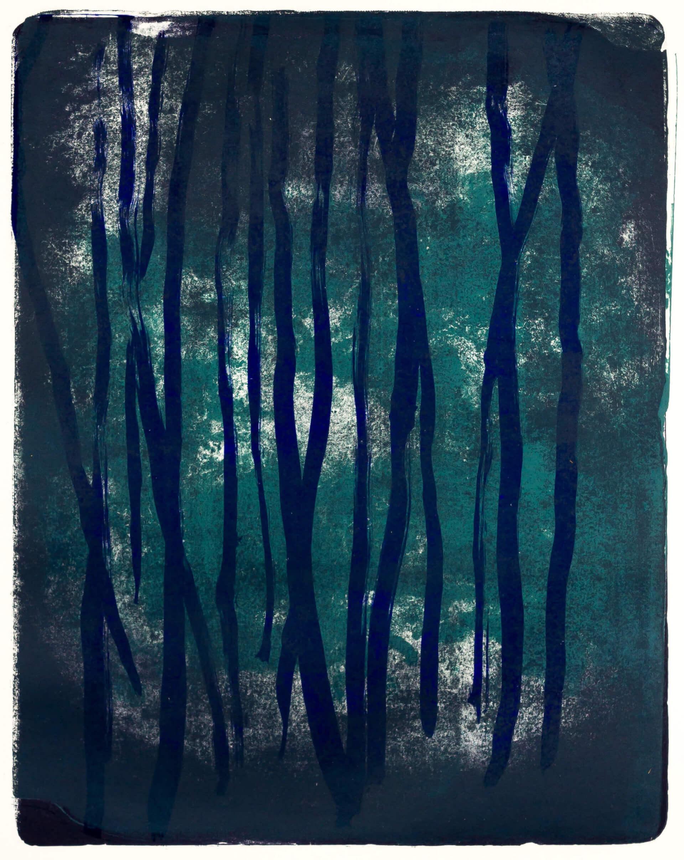 Katharina Albers, Wald X(N)-XXII, 2016, Farblithographie, 50x40 cm, Unikat