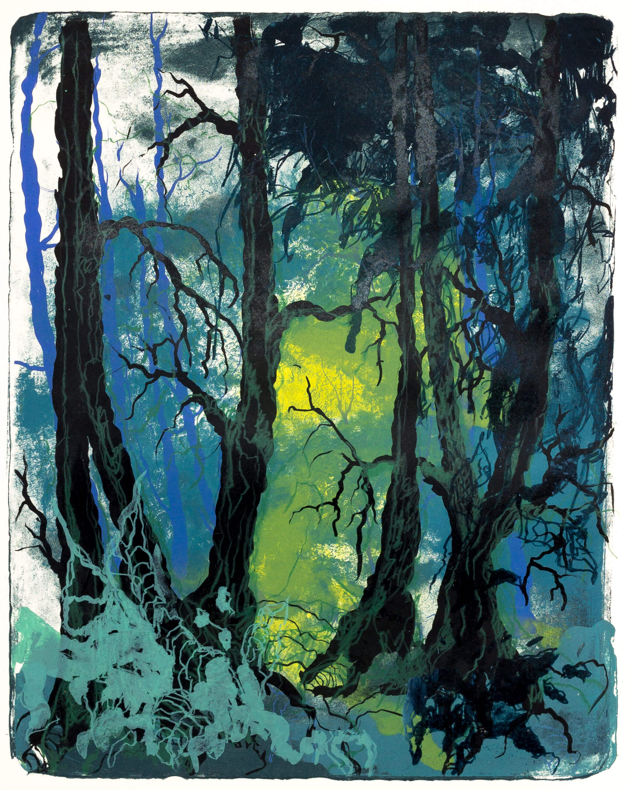 Katharina Albers, Wald X(N)-XXIII, 2016, Farblithographie, Unikat, 50x40 cm