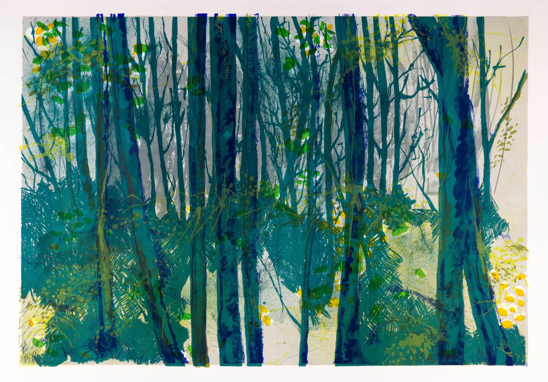 Katharina Albers, Wald XV, 2014, Farblithographie, 2 Auflagen, 64×92 cm
