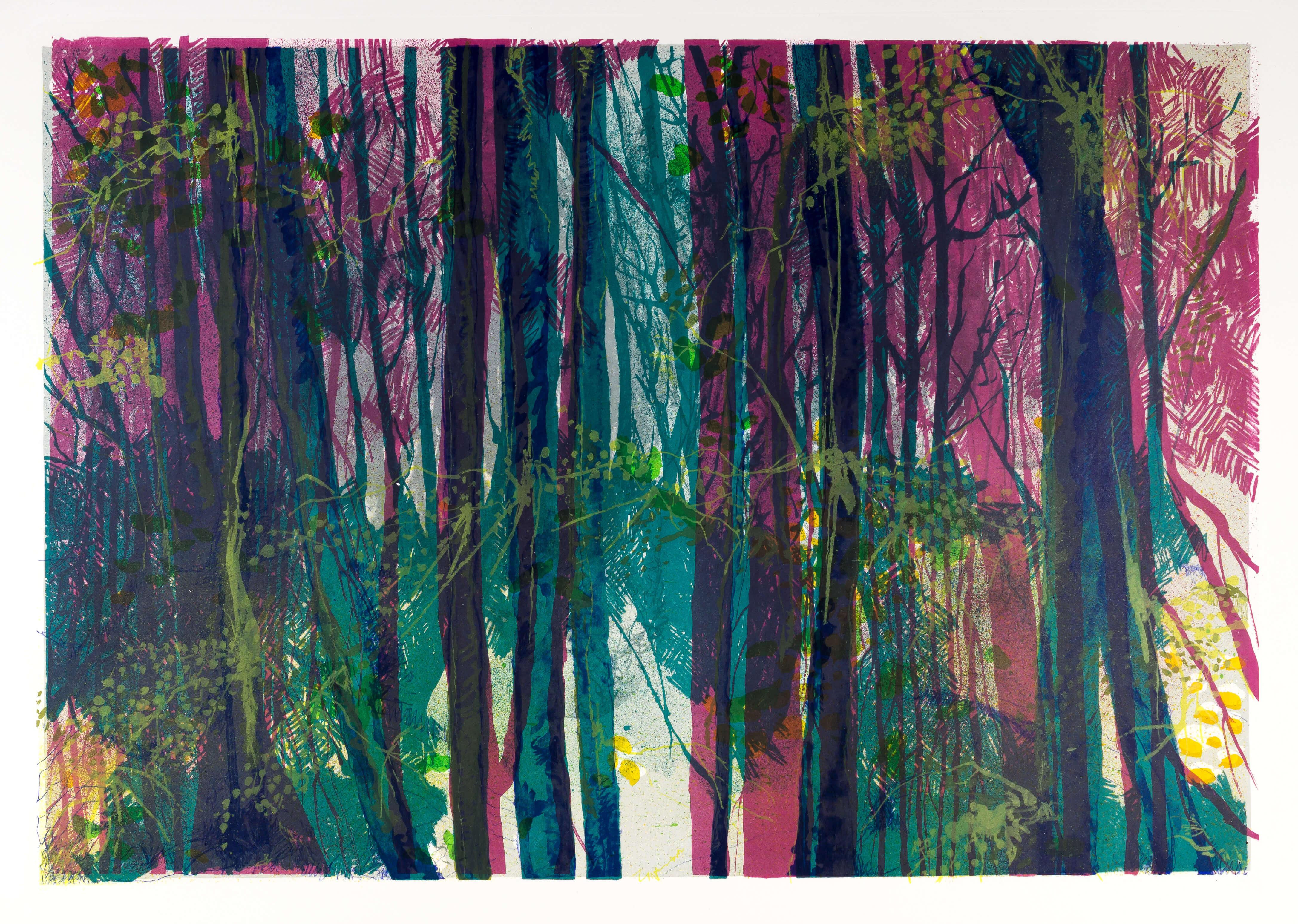 Katharina Albers, Wald XVI, 2014, Farblithographie, Unikat, 64×92 cm