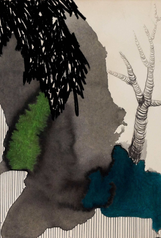 Katharina Albers, Wald XXIV, 2014, Ölkreide, Tusche, Graphit auf Papier, 29,7×21 cm