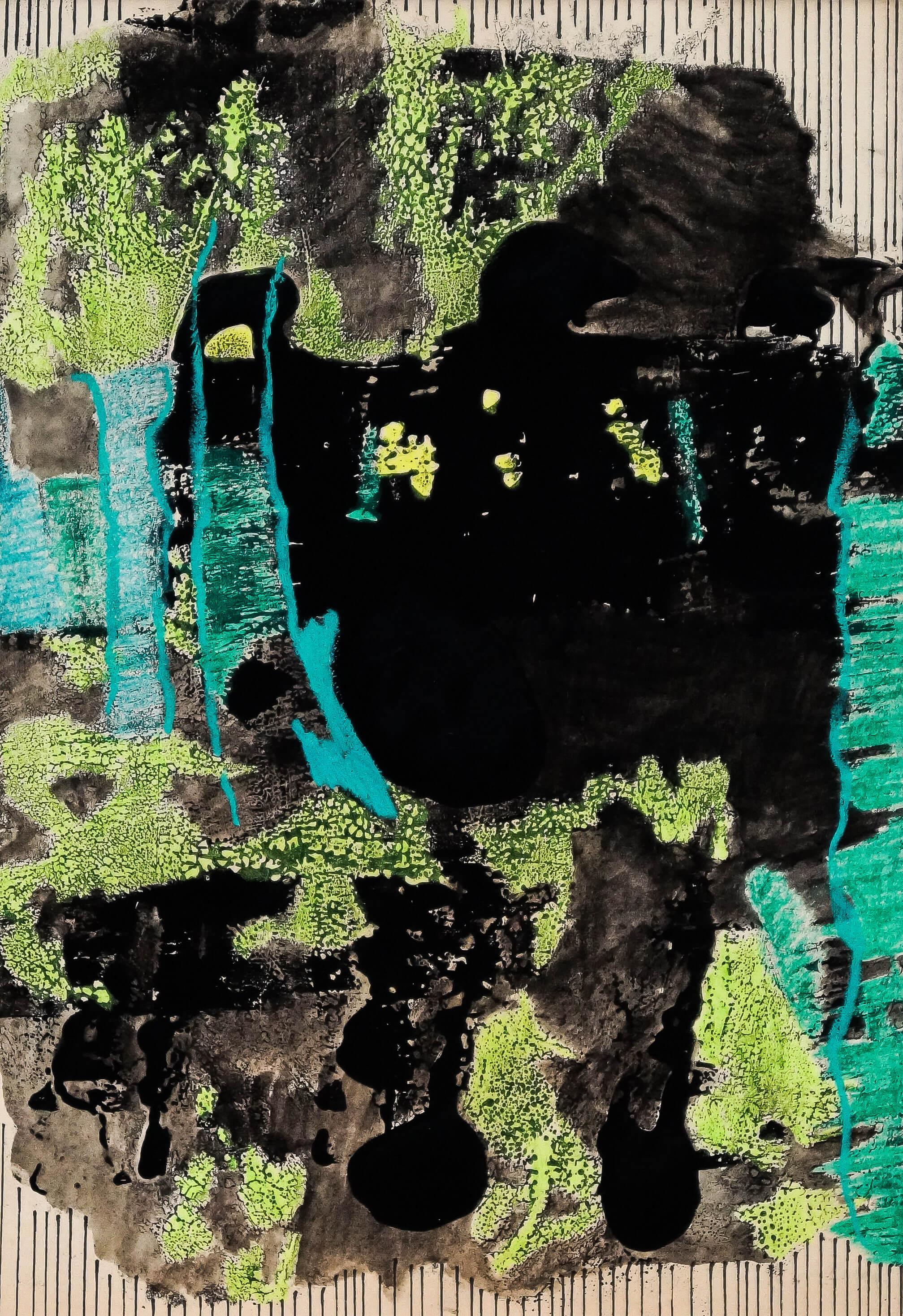 Katharina Albers, Wald XXV, 2014, Ölkreide, Linolfarbe, Graphit auf Papier, 29,7×21 cm