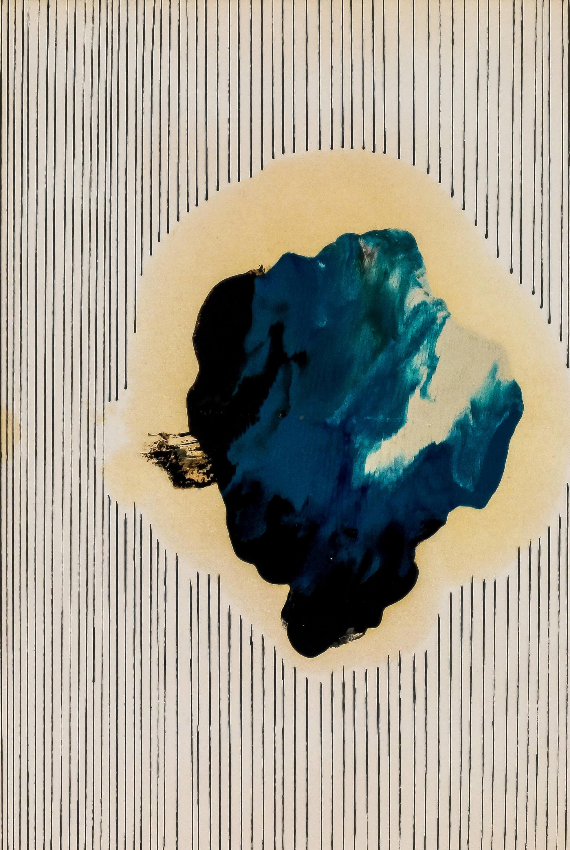 Katharina Albers, Wald XXVI, 2014, Ölkreide, Linolfarbe, Graphit auf Papier, 29,7×21 cm