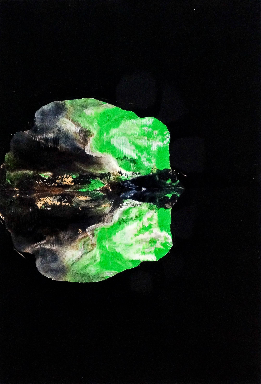 Katharina Albers, Wald XXVII, 2014, Ölfarbe, Linolfarbe auf Papier, 29,7×21 cm