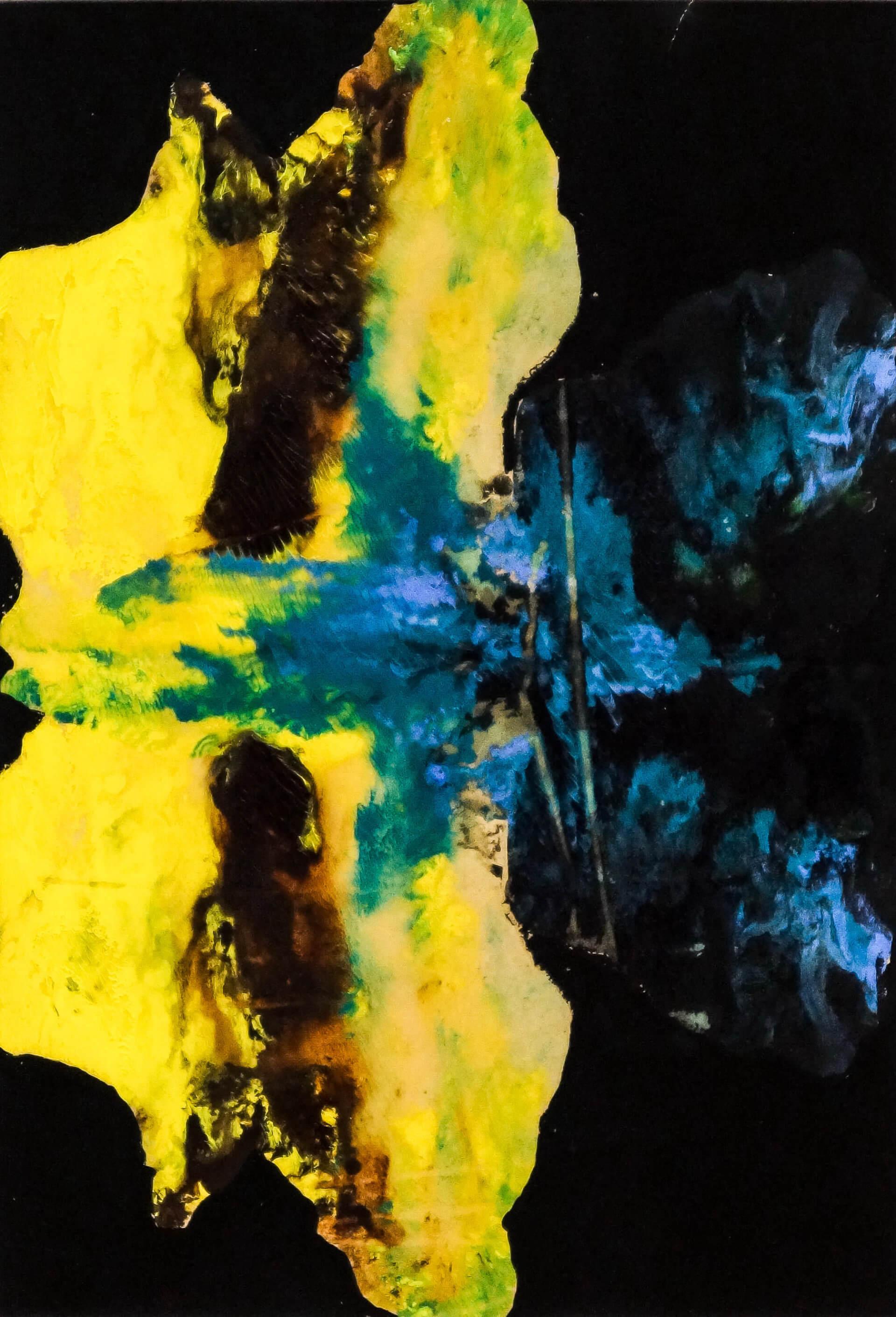 Katharina Albers, Wald XXVIII, 2014, Ölfarbe, Linolfarbe auf Papier, 29,7×21 cm