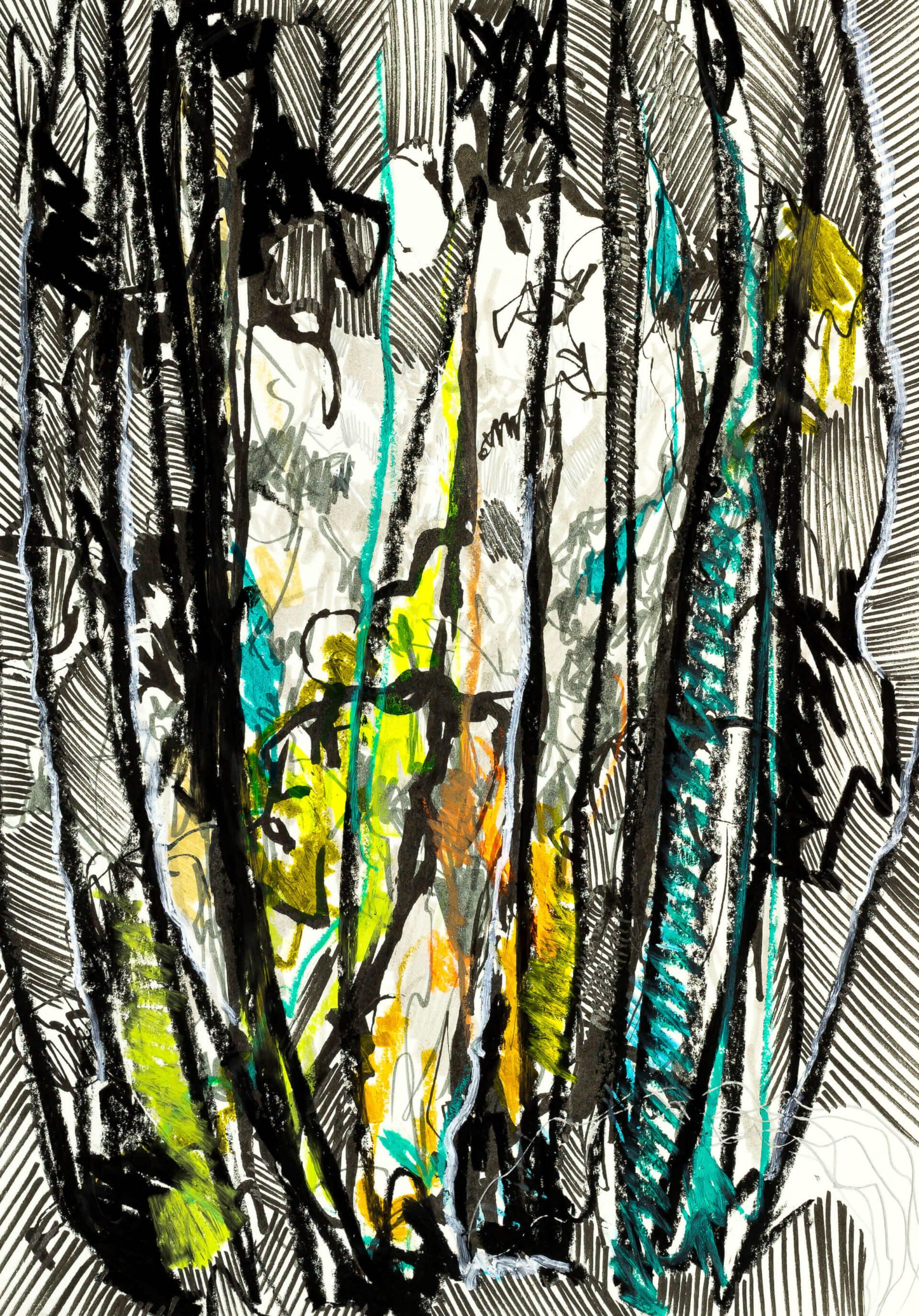 Katharina Albers, Wald XXXIV, 2016, Ölkreide, Fineliner, Graphit, Buntstift, Aquarell auf Papier, 29,7x21 cm
