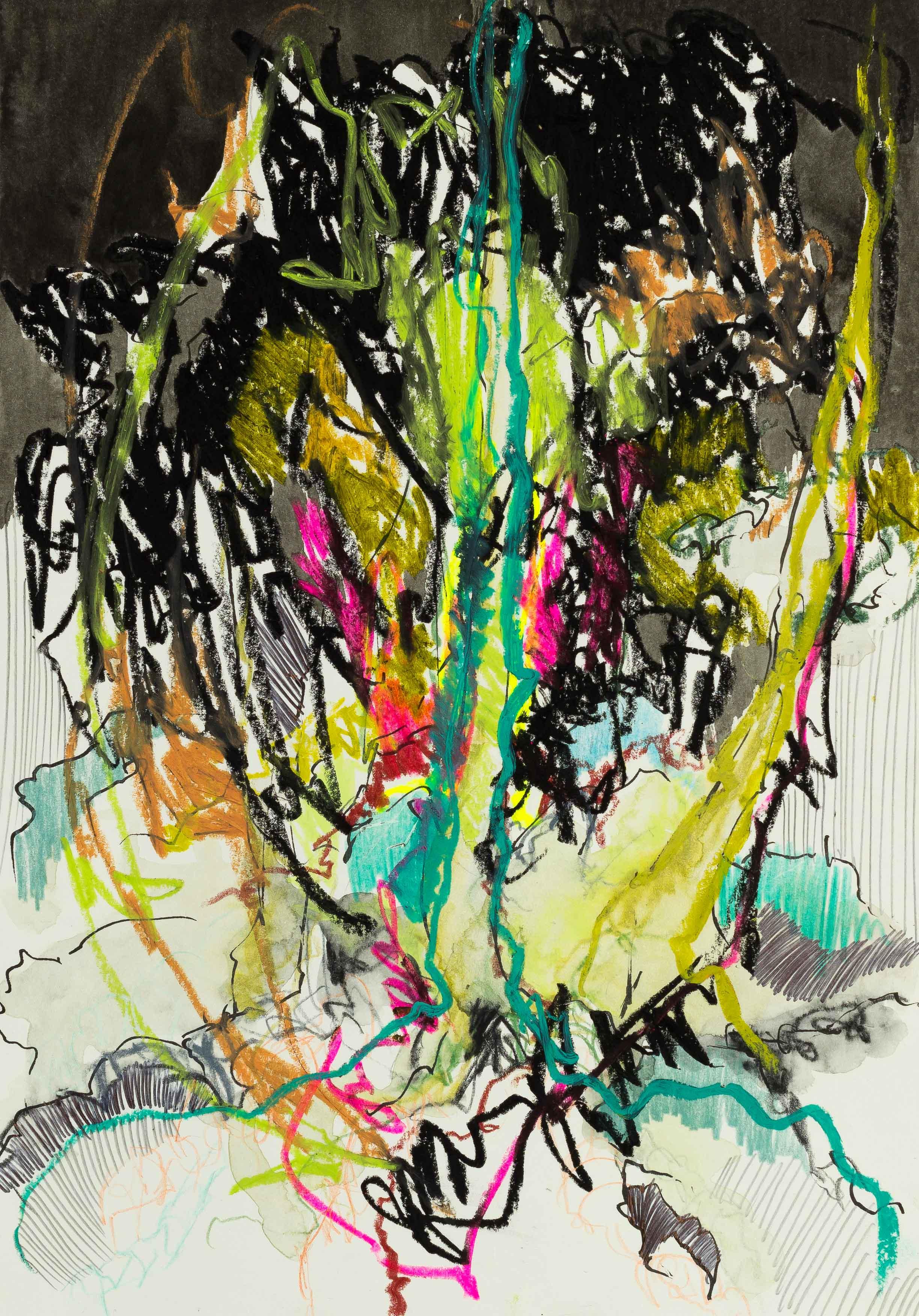 Katharina Albers, Wald XXXV, 2016, Ölkreide, Fineliner, Graphit, Buntstift, Aquarell auf Papier, 29,7x21 cm