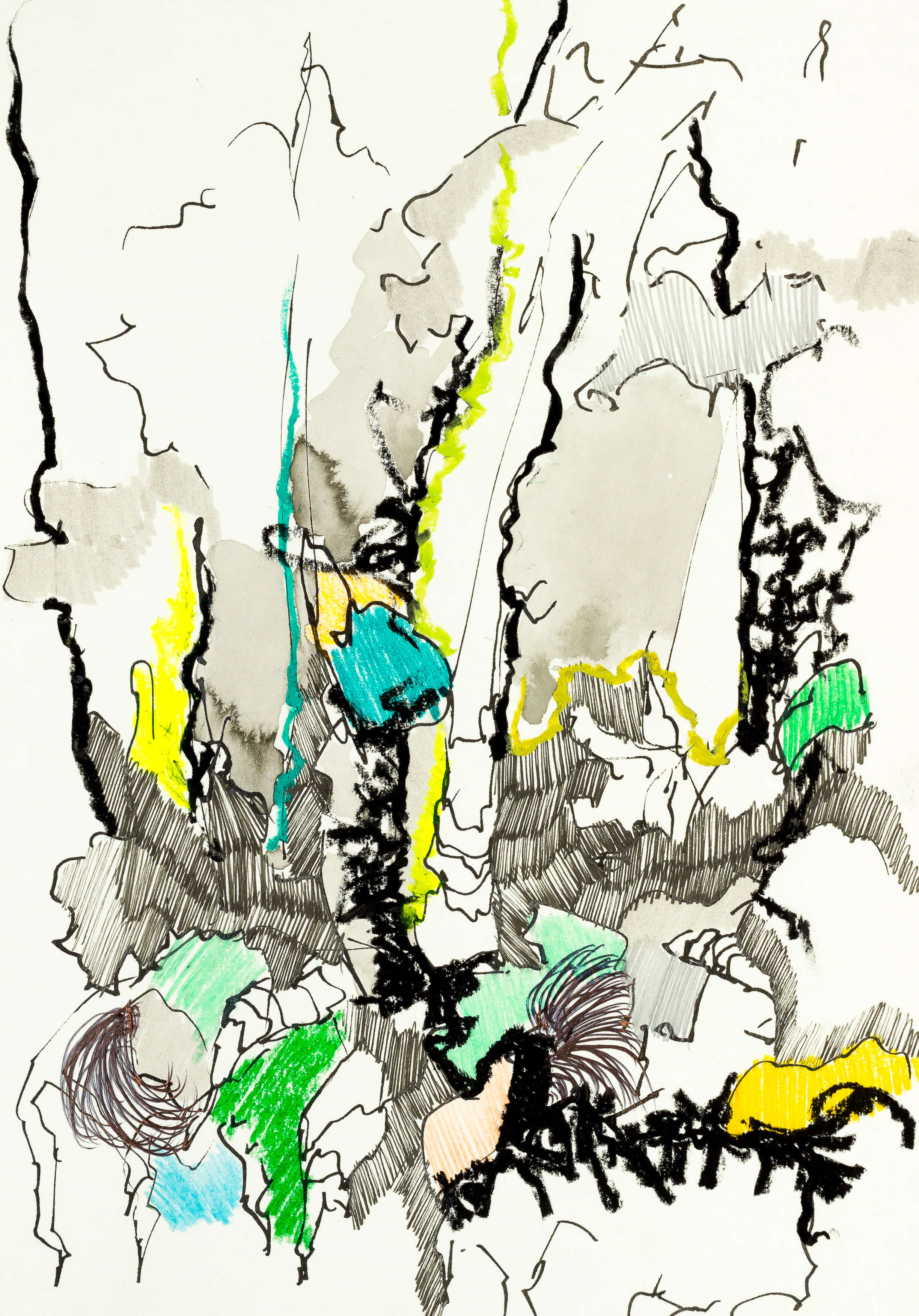 Katharina Albers, Wald XXXVI, 2016, Ölkreide, Fineliner, Graphit, Buntstift, Aquarell auf Papier, 29,7x21 cm