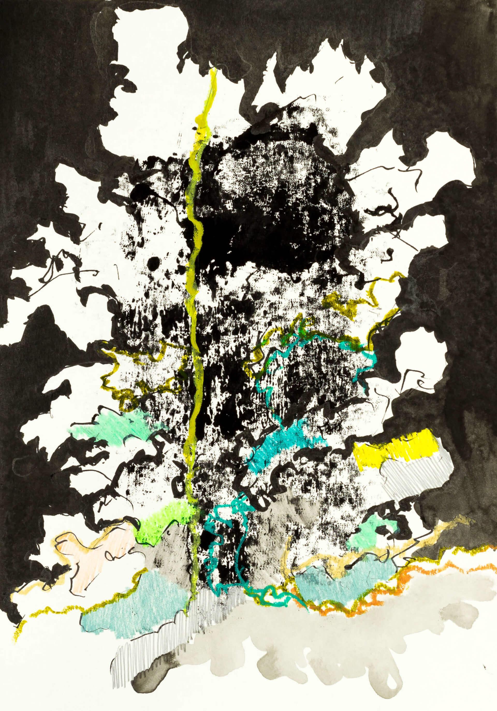 Katharina Albers, Wald XXXVII, 2016, Ölkreide, Linolfarbe, Buntstift, Aquarell auf Papier, 29,7x21 cm