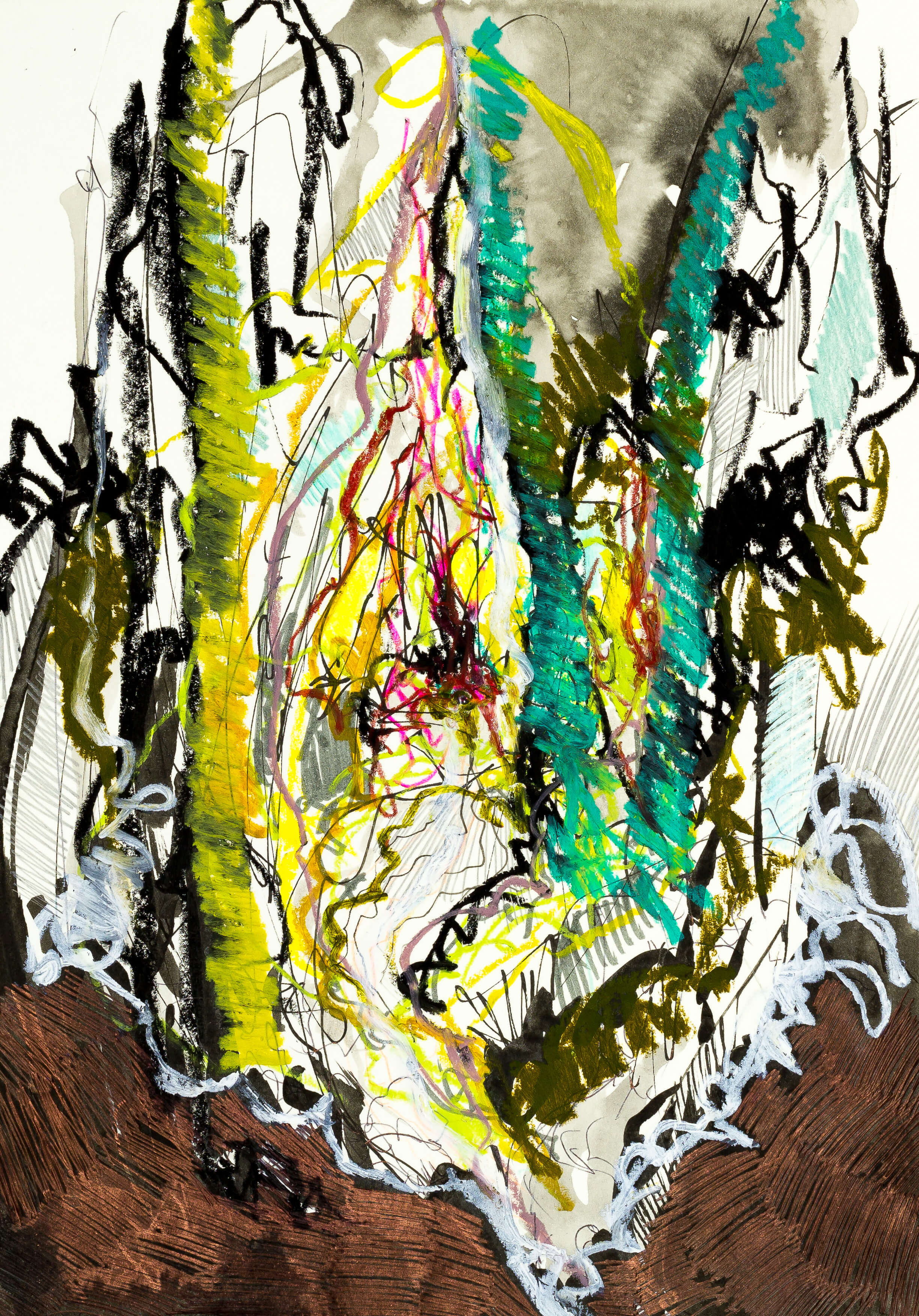Katharina Albers, Wald XXXVIII, 2016, Ölkreide, Fineliner, Gelstift, Buntstift, Aquarell auf Papier, 29,7x21 cm