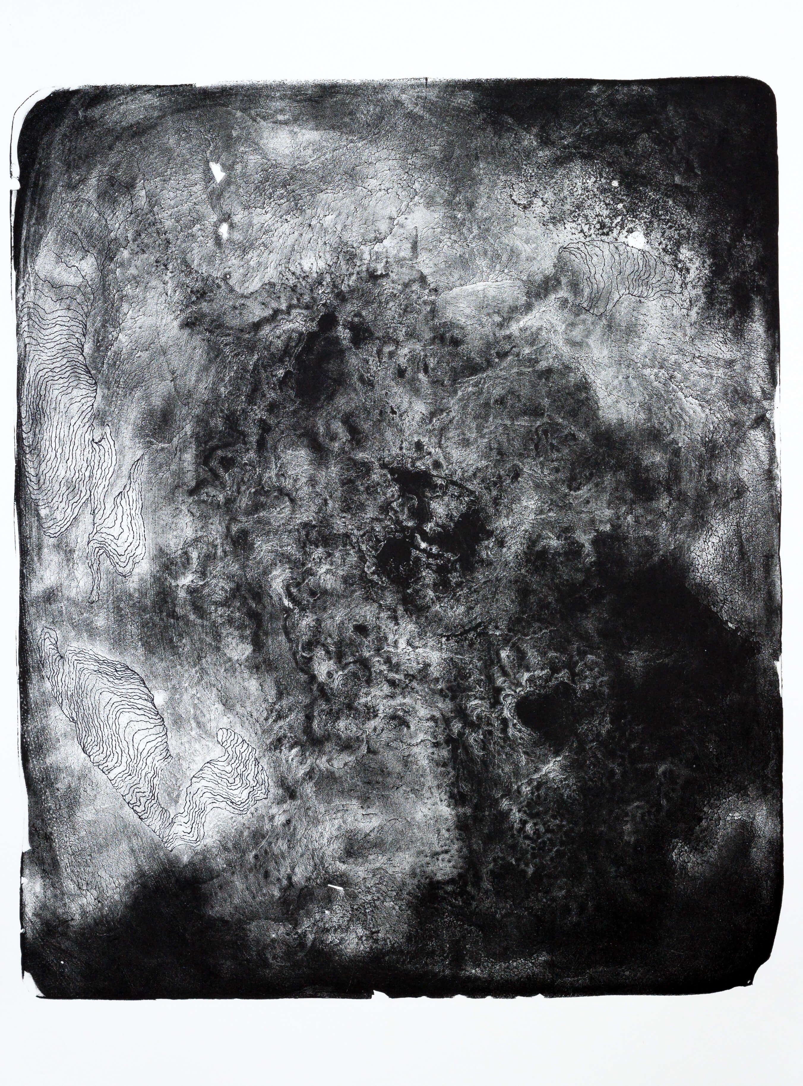 structure II, 2016, Farblithographie, Unikat, 64,5x53,5 cm (Motiv), ca. 77,5x57 cm (Papier)