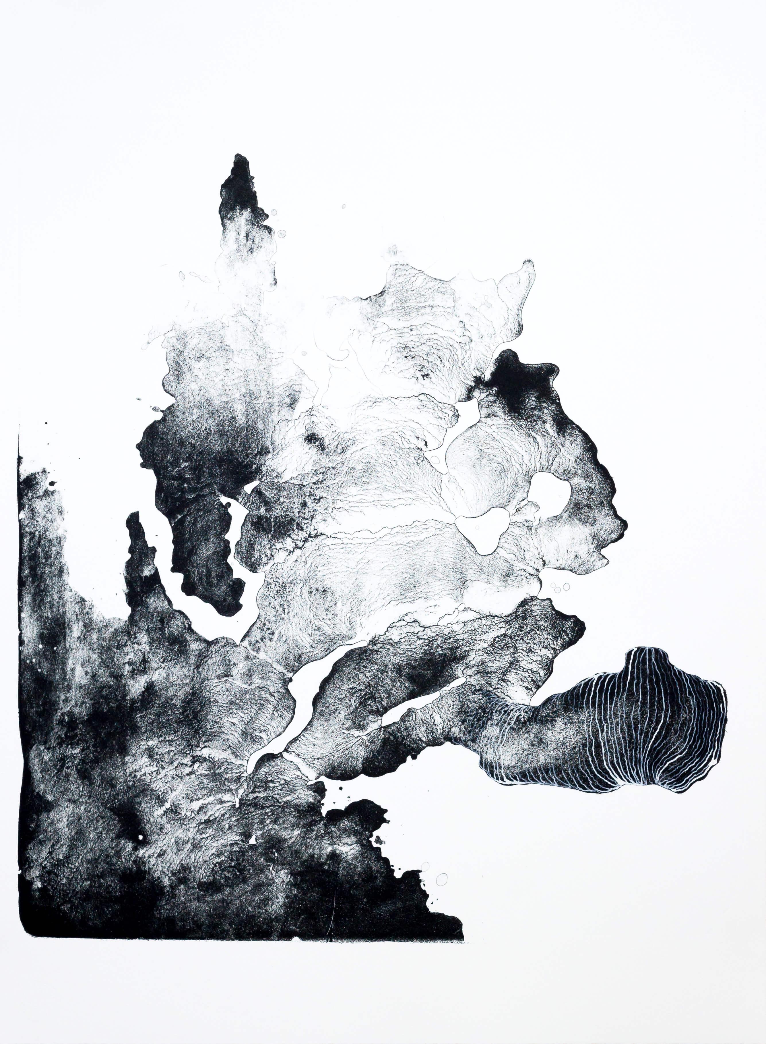 structure III, 2016, Farblithographie, Unikat, 64,5x53,5 cm (Motiv), ca. 77,5x57 cm (Papier)