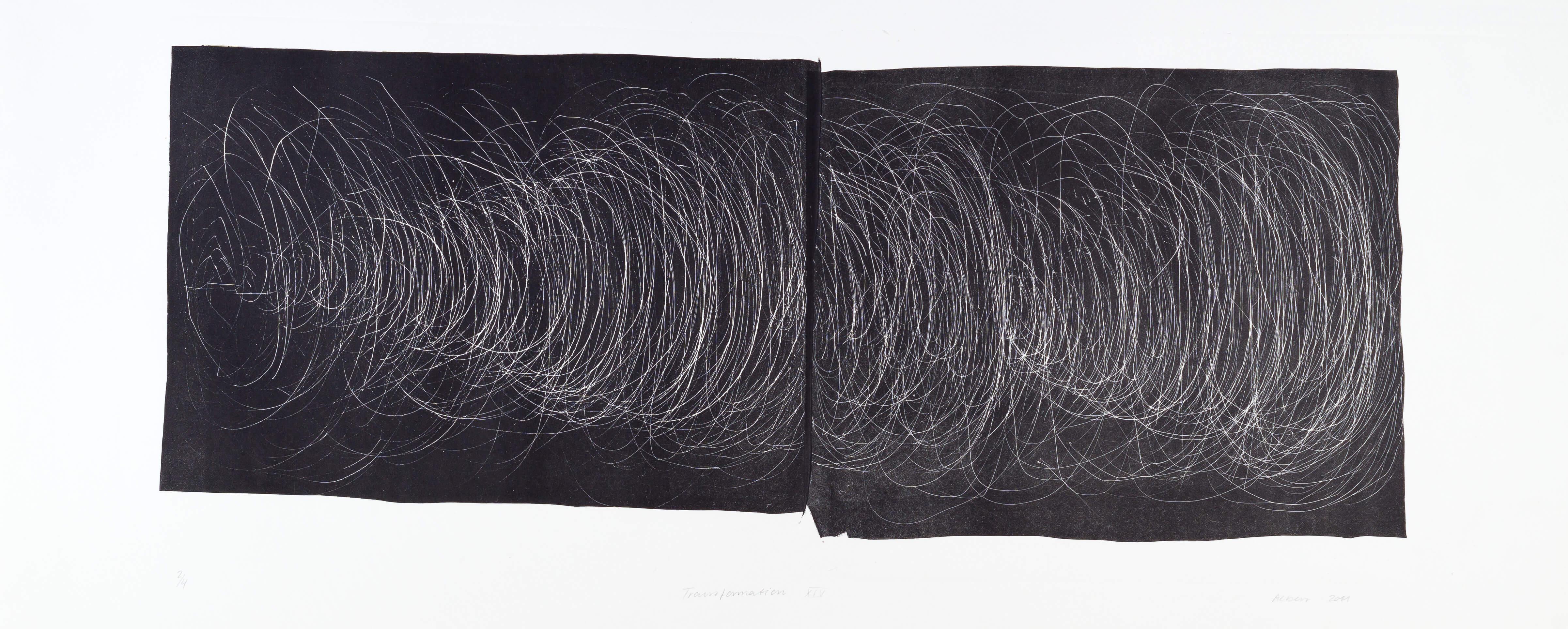 Katharina Albers, Transformation XIV, 2011, Schablithographie, 3 Auflagen, 32x77cm