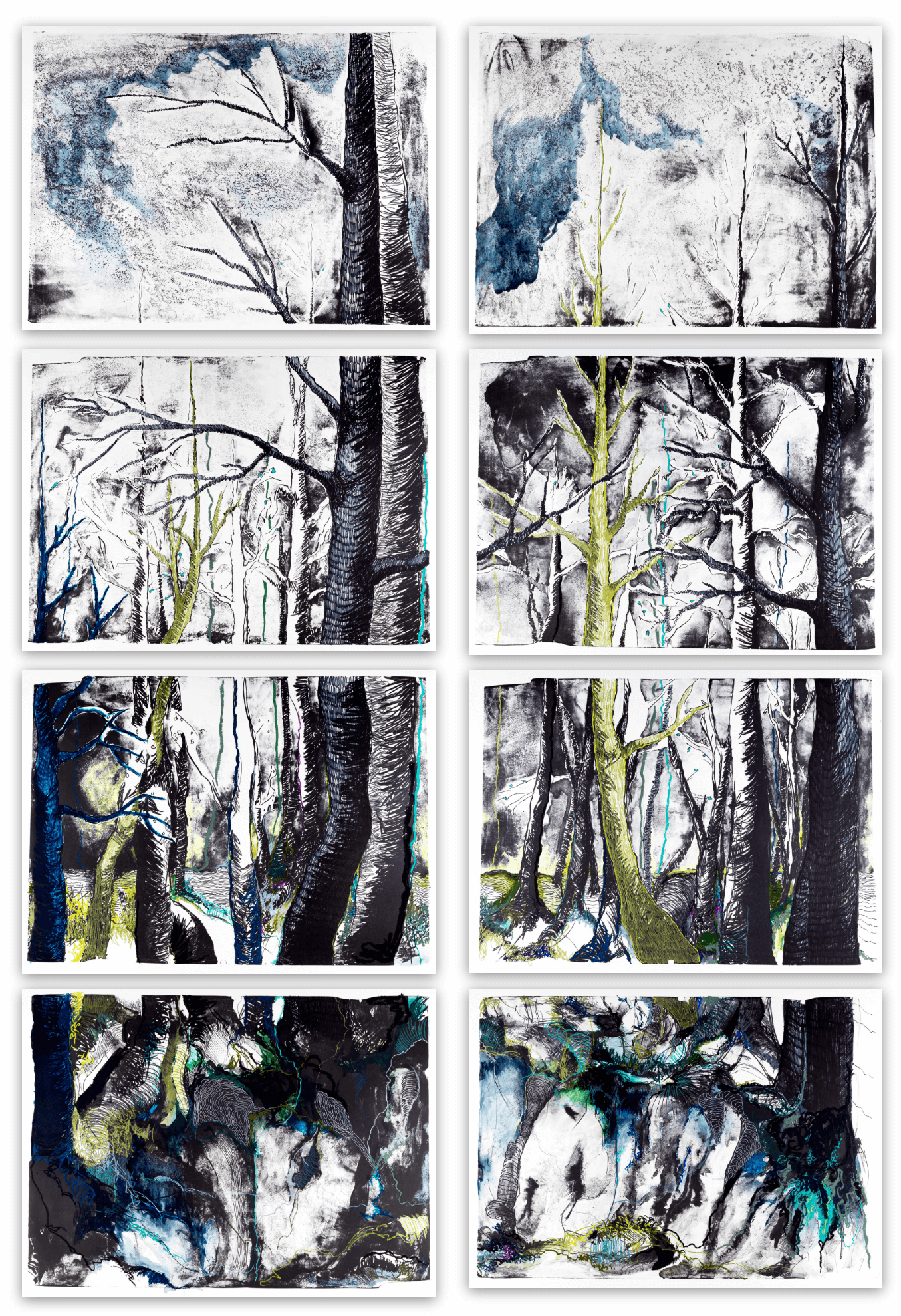 Katharina Albers, WALD-(FA), 2015 Lithographie handkoloriert (Ölkreide, Graphit, Aquarellfarbe, Fineliner) Unikat (8 Steine je 70×100 cm)