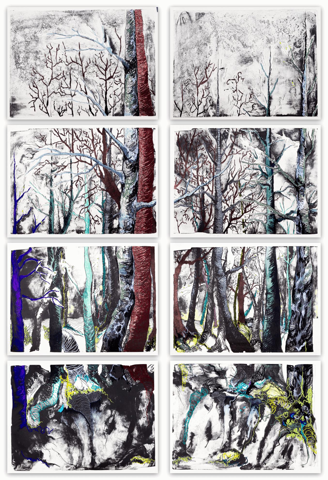 Katharina Albers, WALD-(FB), 2016, Lithographie handkoloriert (Ölkreide, Graphit, Aquarellfarbe, Fineliner) Unikat (8 Steine je 70×100 cm)