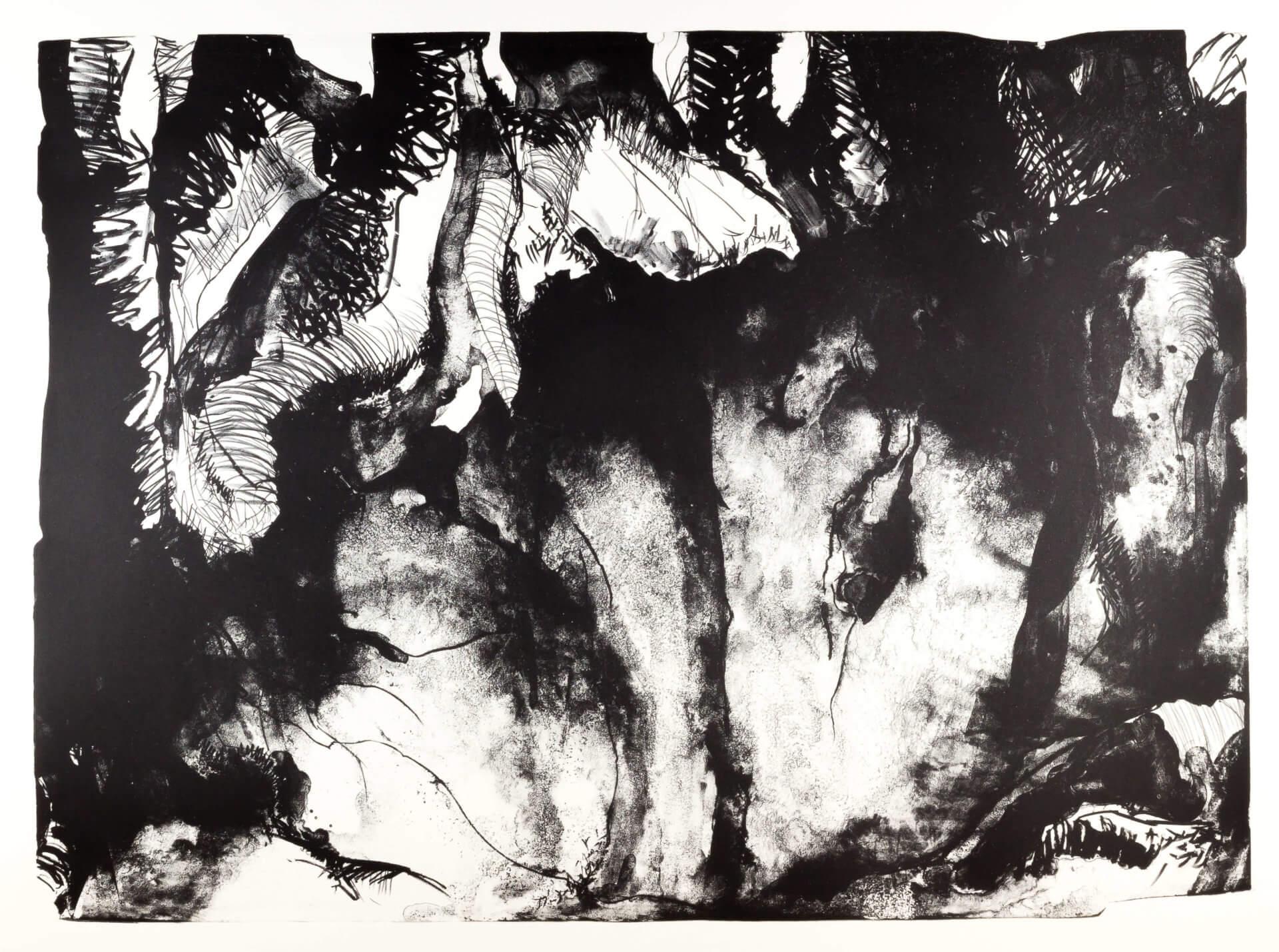 Katharina Albers, Wald (A), 2015, Lithographie (8 Steine), Unikat, 70×100 cm