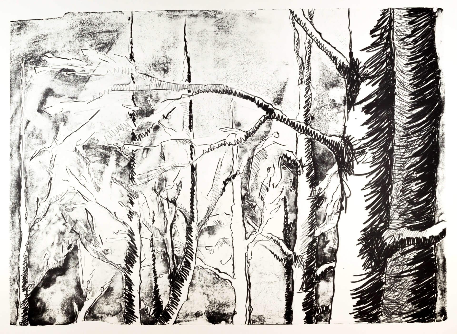 Katharina Albers, Wald (E), 2015, Lithographie (8 Steine), Unikat, 70×100 cm