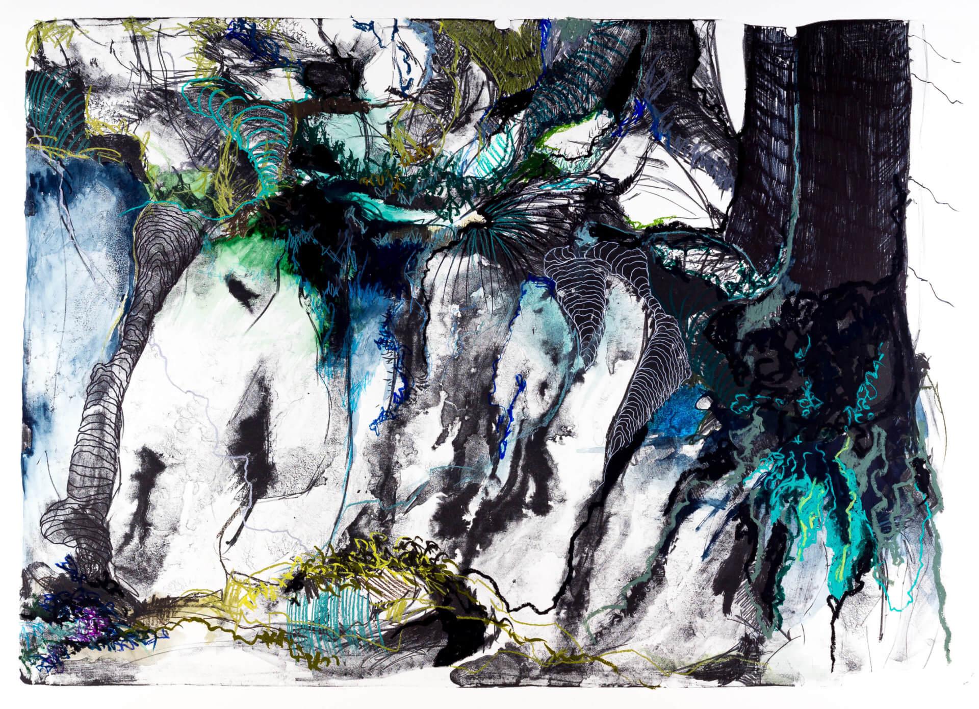 Katharina Albers, Wald (F_A)(B), 2015, Lithographie handkoloriert (Ölkreide, Graphit, Aquarellfarbe, Fineliner), Unikat, 70×100 cm