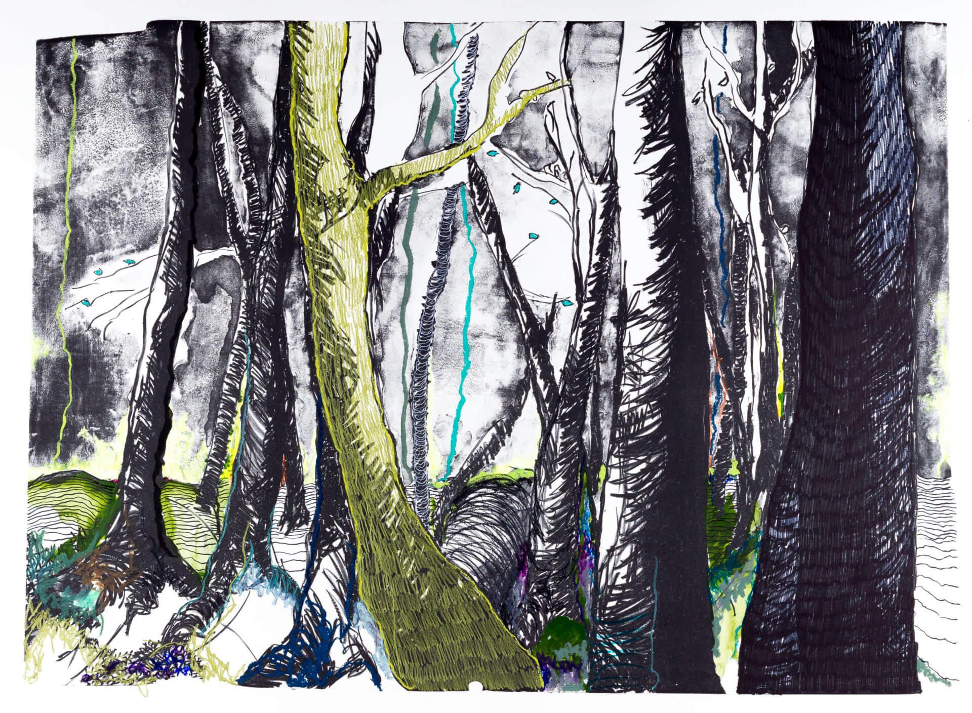 Katharina Albers, Wald (F_A)(D), 2015, Lithographie handkoloriert (Ölkreide, Graphit, Aquarellfarbe, Fineliner), Unikat, 70×100 cm