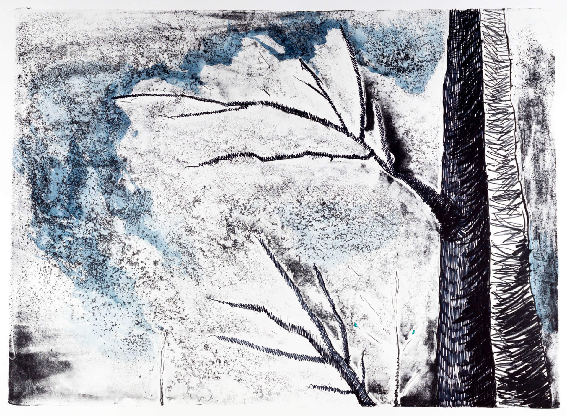 Katharina Albers, Wald (F_A)(G), 2015, Lithographie handkoloriert (Ölkreide, Graphit, Aquarellfarbe, Fineliner), Unikat, 70×100 cm
