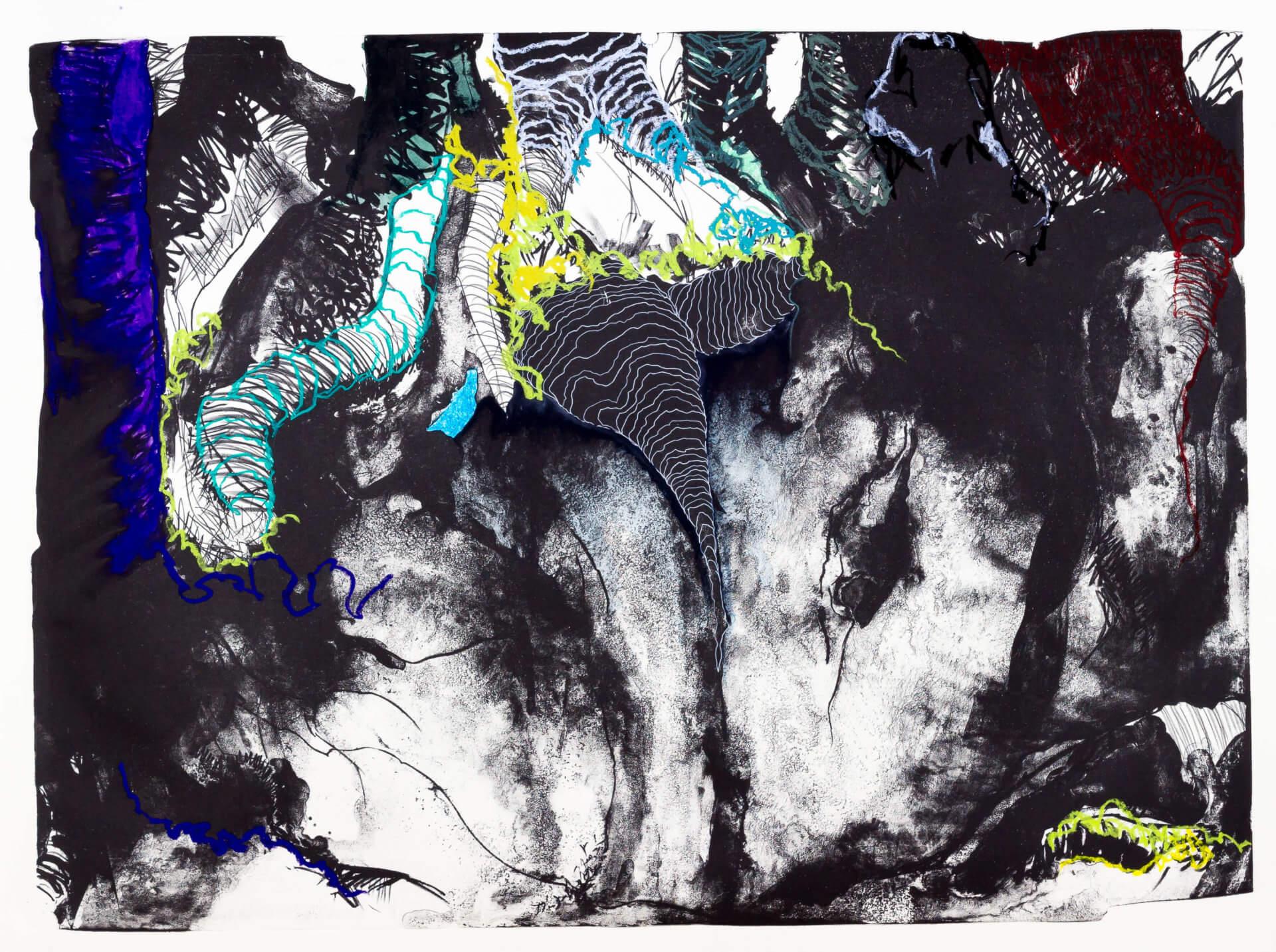 Katharina Albers, Wald (F_B)(A), 2016, Lithographie handkoloriert (Ölkreide, Graphit, Aquarellfarbe, Fineliner, Gelstift, Tusche), Unikat, 70×100 cm
