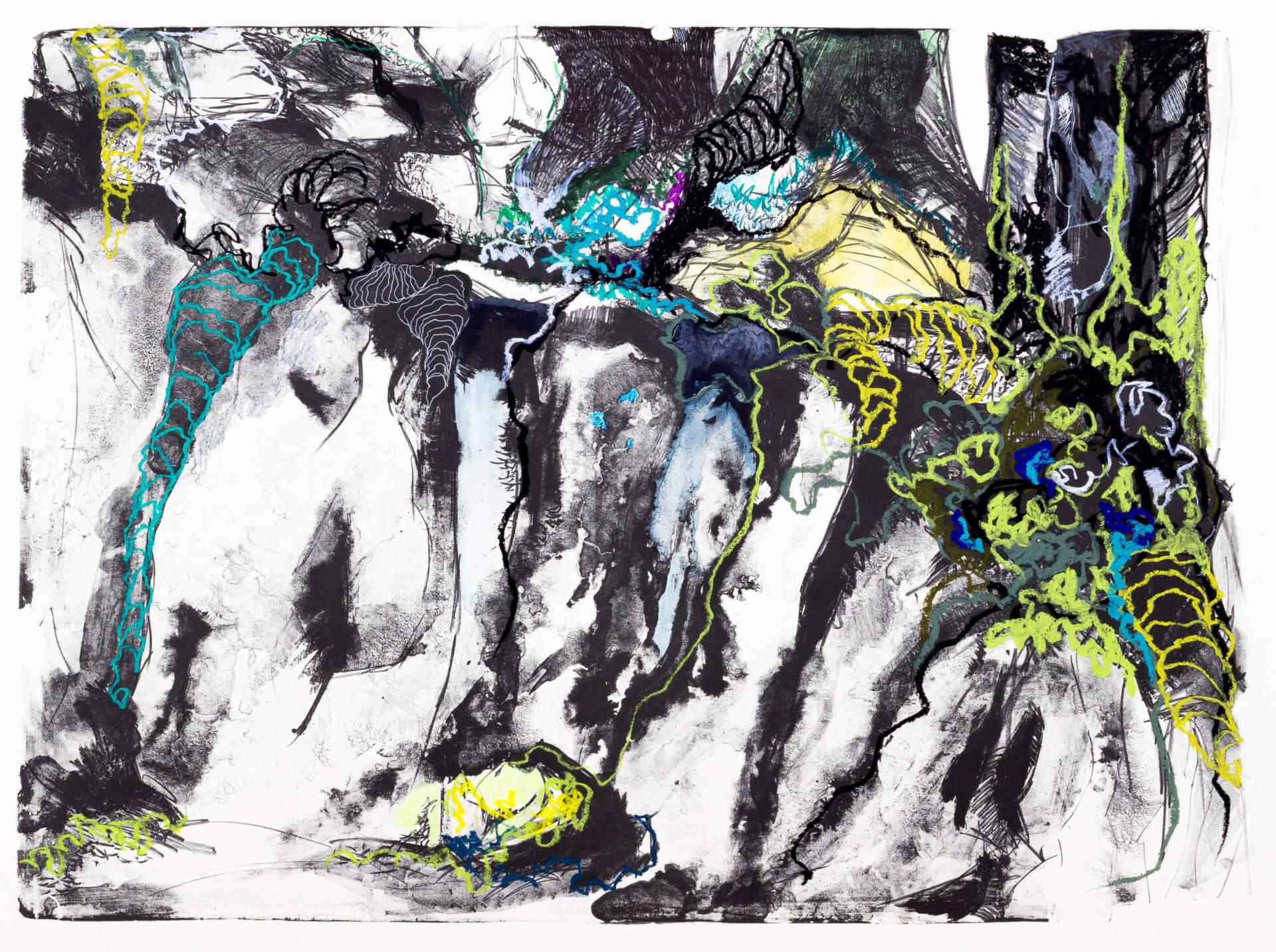 Katharina Albers, Wald (F_B)(B), 2016, Lithographie handkoloriert (Ölkreide, Graphit, Aquarellfarbe, Fineliner, Gelstift, Tusche), Unikat, 70×100 cm