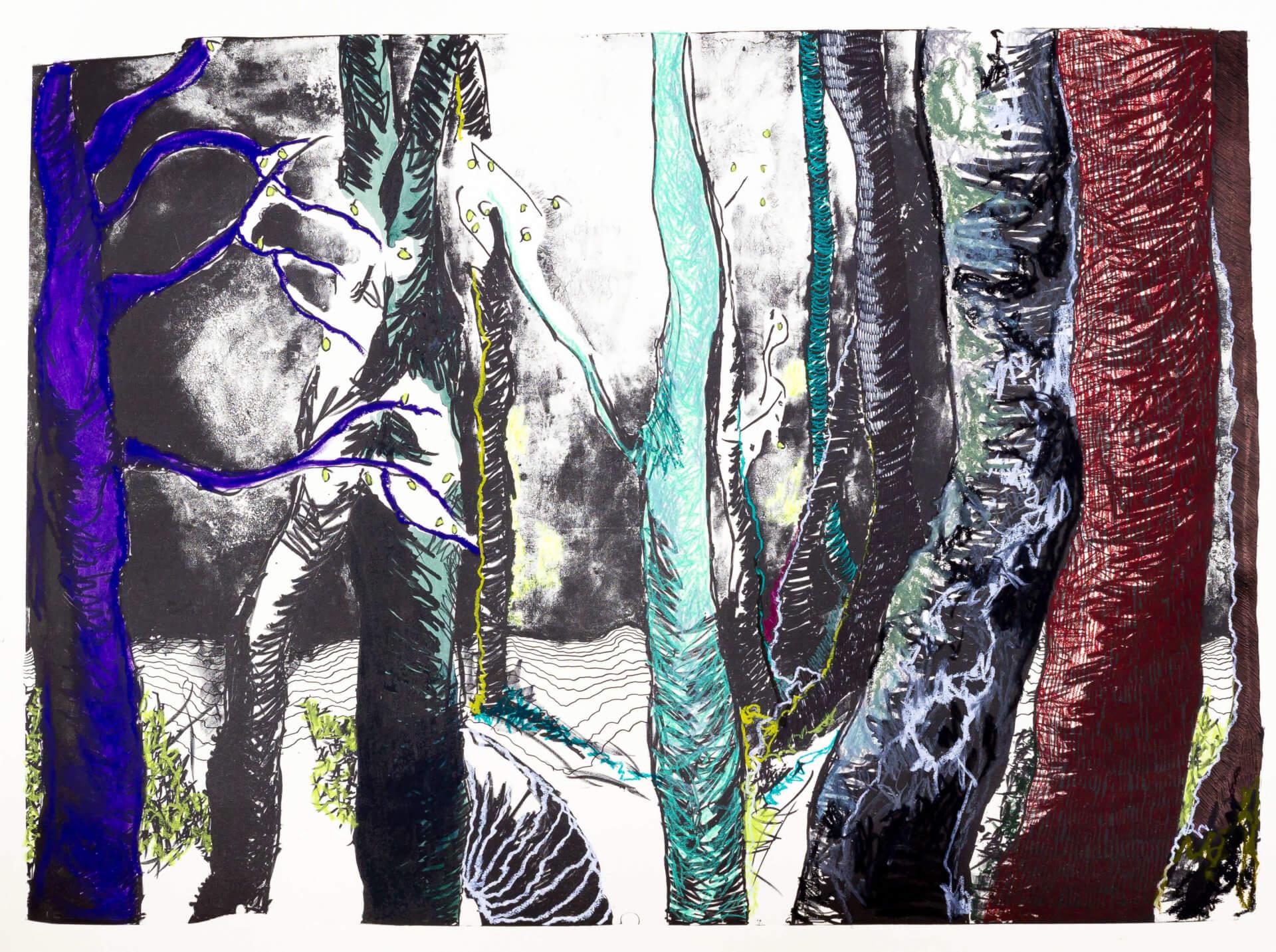 Katharina Albers, Wald (F_B)(C), 2016, Lithographie handkoloriert (Ölkreide, Graphit, Aquarellfarbe, Fineliner, Gelstift, Tusche), Unikat, 70×100 cm
