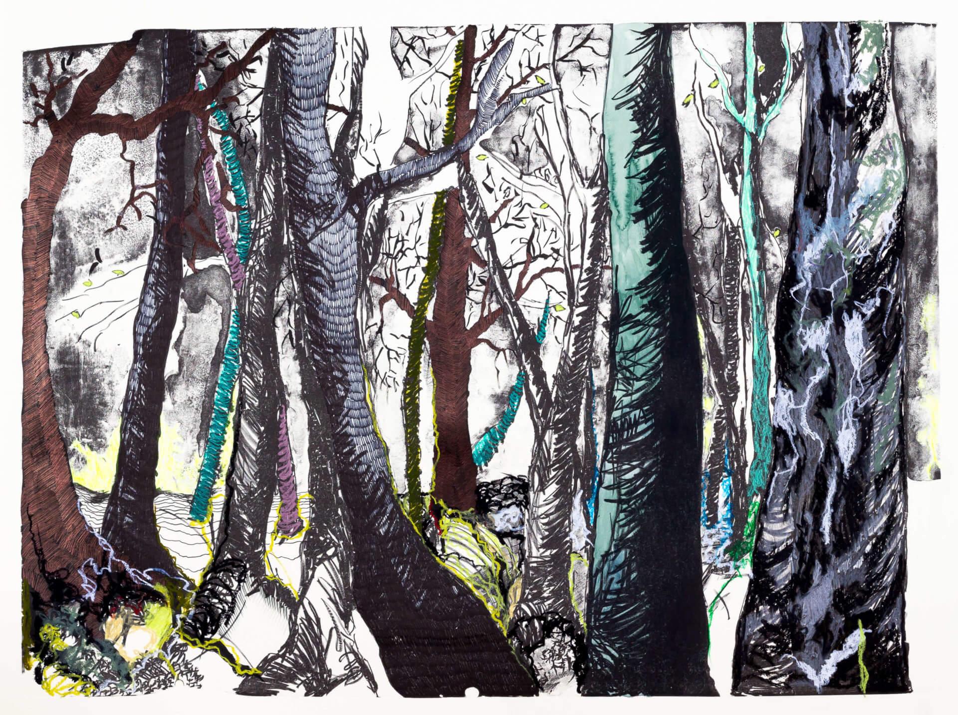 Katharina Albers, Wald (F_B)(D), 2016, Lithographie handkoloriert (Ölkreide, Graphit, Aquarellfarbe, Fineliner, Gelstift, Tusche), Unikat, 70×100 cm
