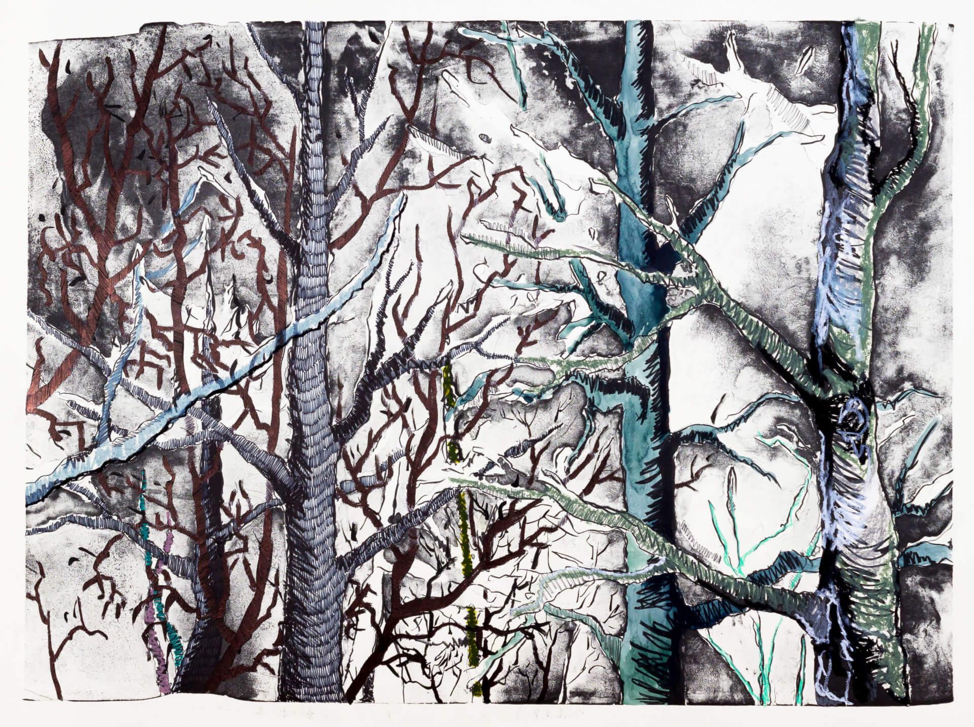 Katharina Albers, Wald (F_B)(F), 2016, Lithographie handkoloriert (Ölkreide, Graphit, Aquarellfarbe, Fineliner, Gelstift, Tusche), Unikat, 70×100 cm