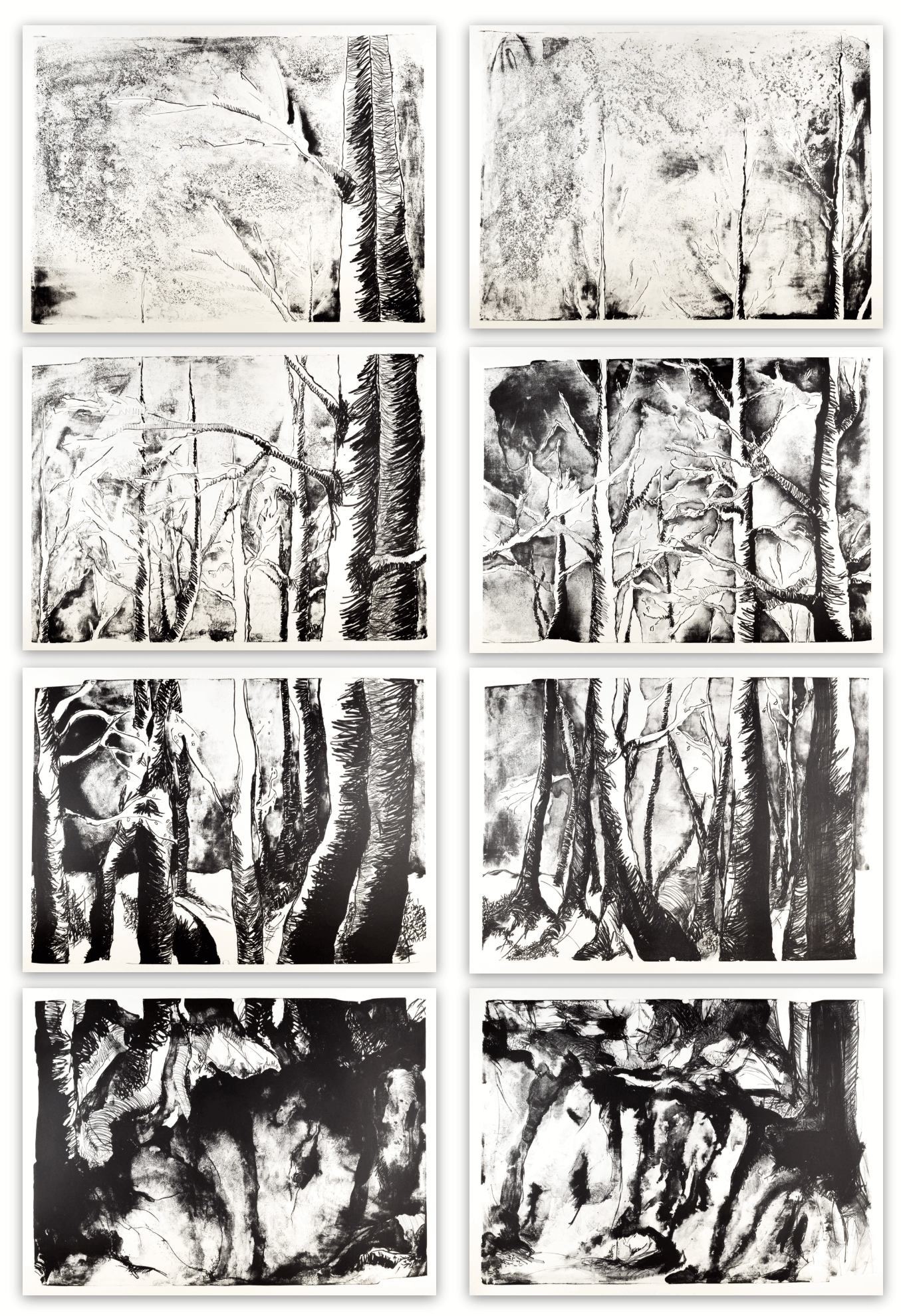 Katharina Albers, Wald, 2015 Lithographie Unikat (8 Steine je 70×100 cm)
