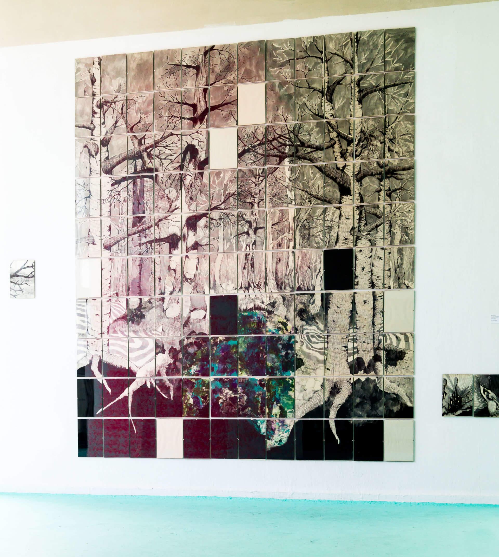 Katharina Albers, Wald XXXII, 2015, Tusche, Graphit, Linolfarbe, Ölfarbe, Fineliner auf Papier, 120 Stück je 30×21 cm