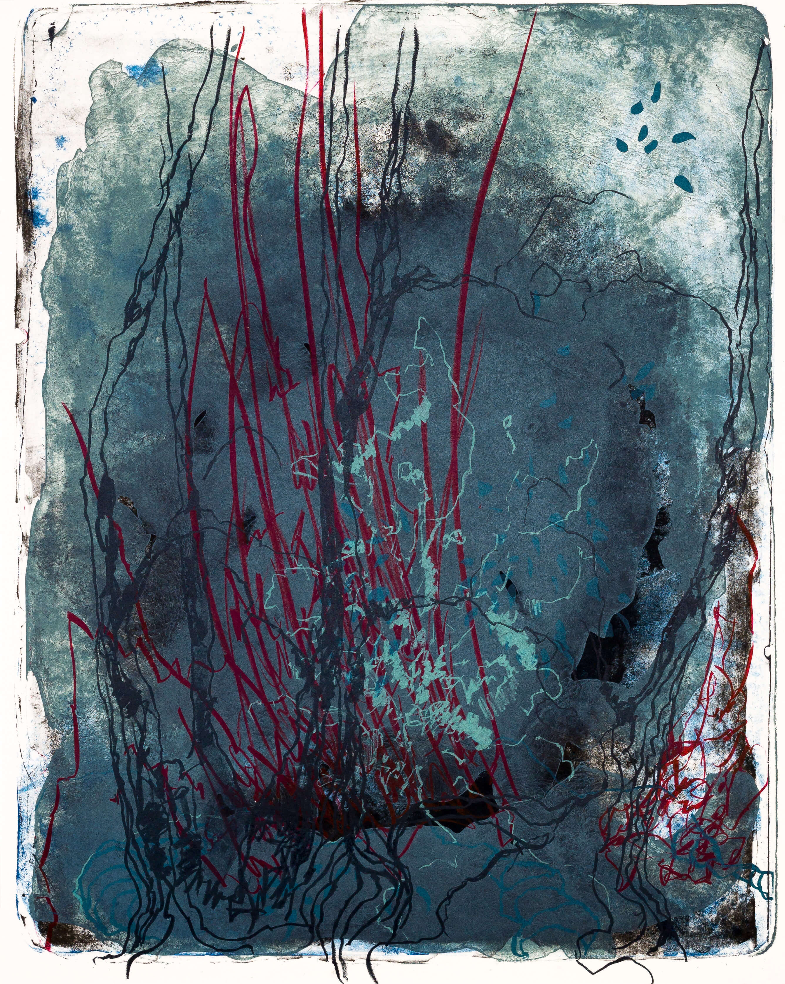 Katharina Albers, organism (Wald) I, 2016, Farblithographie, Unikat, 50x40 cm