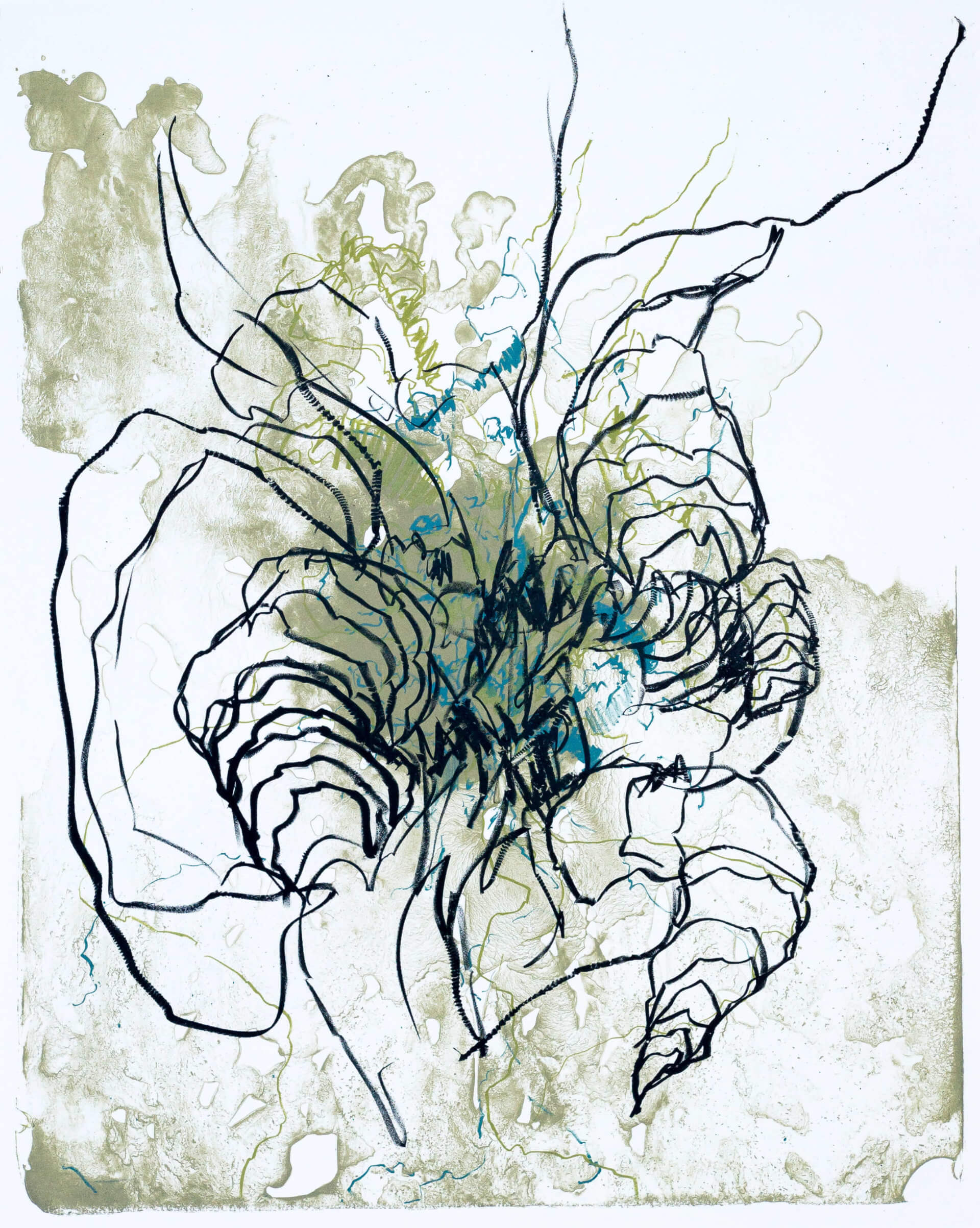Katharina Albers, organism (Wald) II, 2016, Farblithographie, Unikat, 50x40 cm