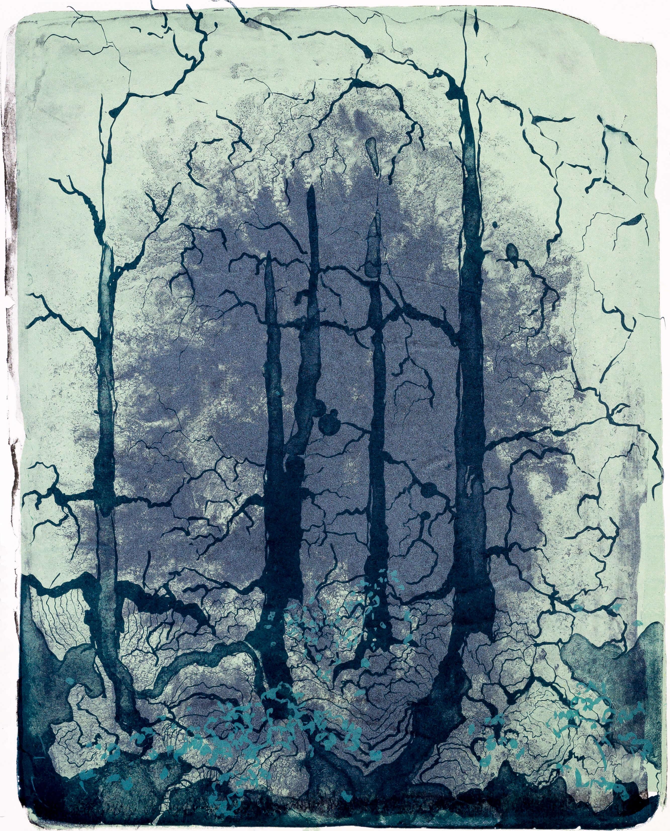 Katharina Albers, organism (Wald) III, 2016, Farblithographie, Unikat, 50x40 cm