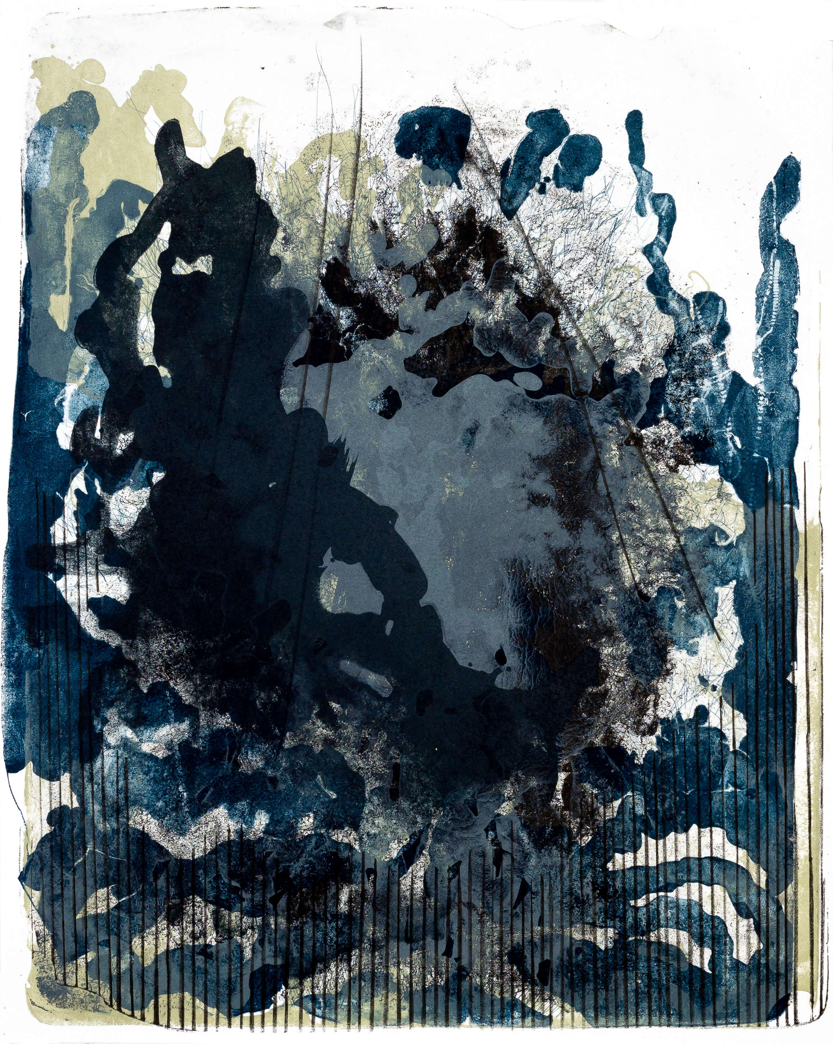 Katharina Albers, organism (Wald) IV, 2016, Farblithographie, Unikat, 50x40 cm