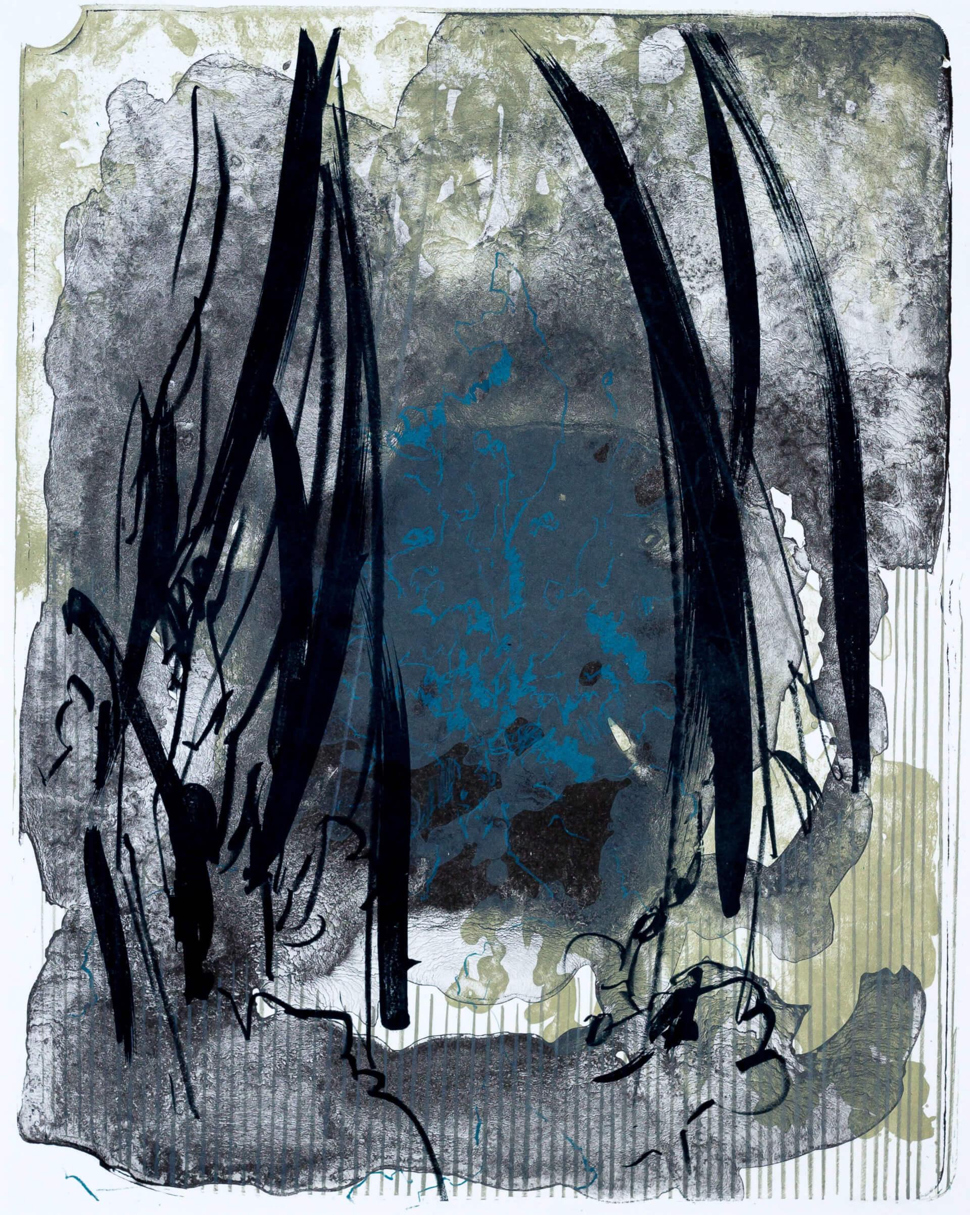 Katharina Albers, organism (Wald) V, 2016, Farblithographie, Unikat, 50x40 cm