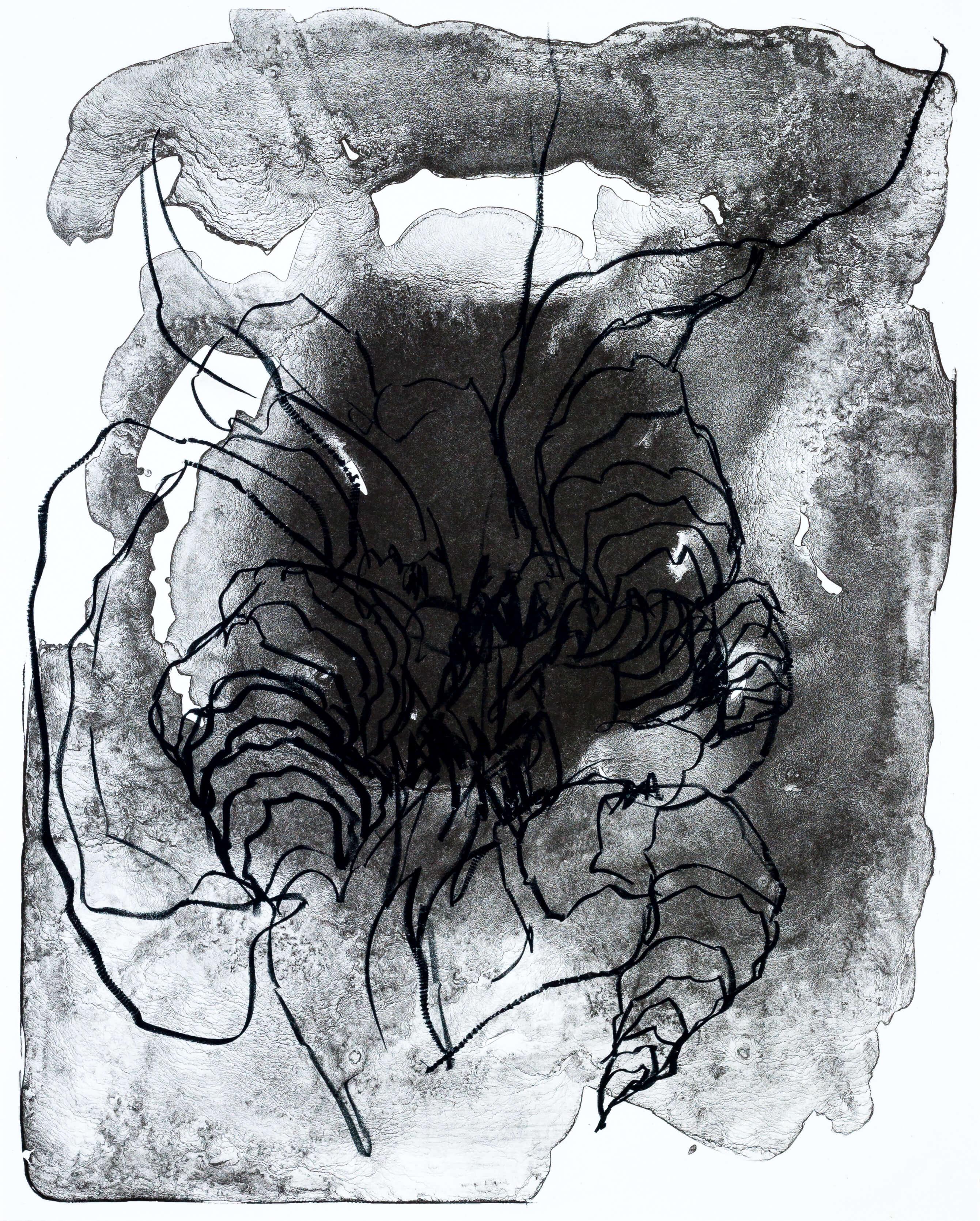 Katharina Albers, organism (Wald) VI, 2016, Farblithographie, Unikat, 50x40 cm
