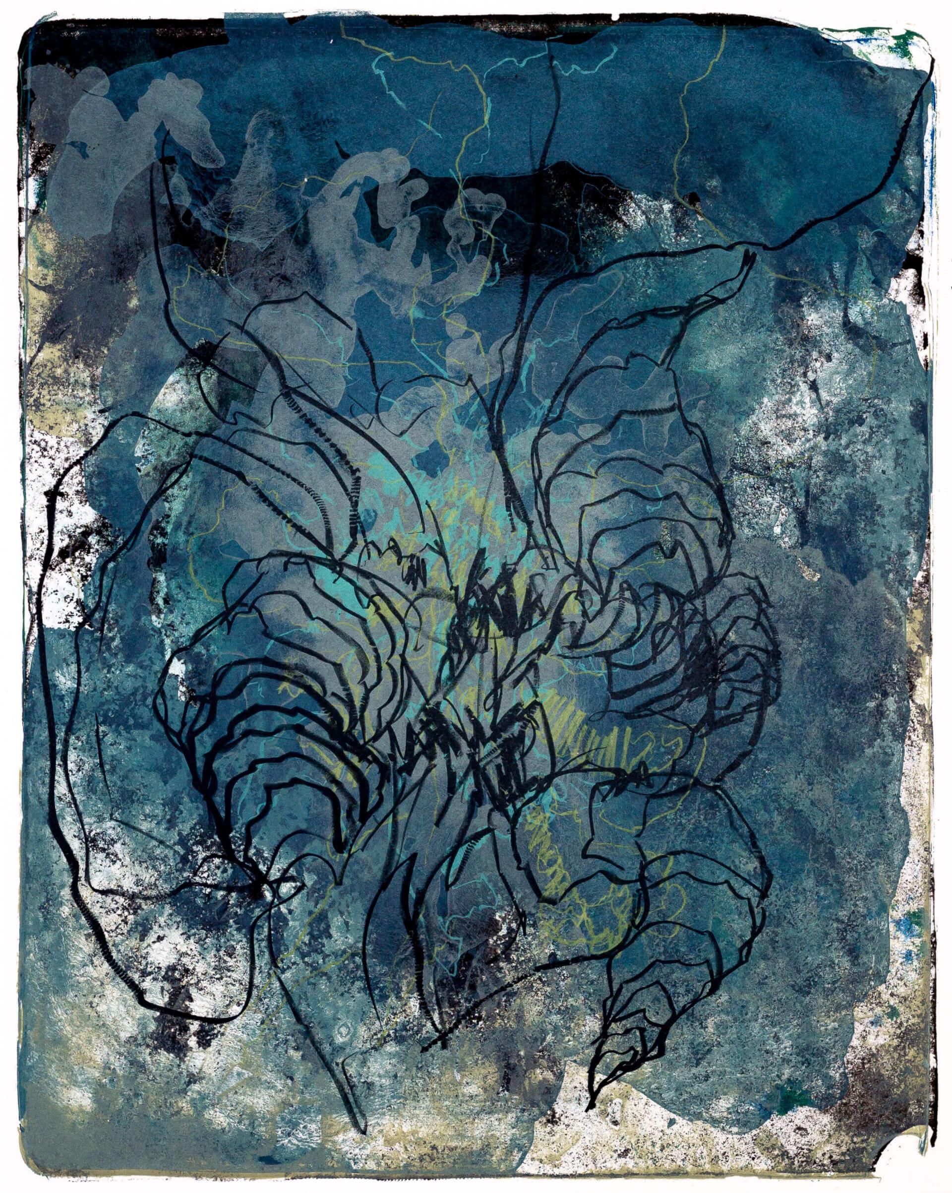 Katharina Albers, organism (Wald) VII, 2016, Farblithographie, Unikat, 50x40 cm