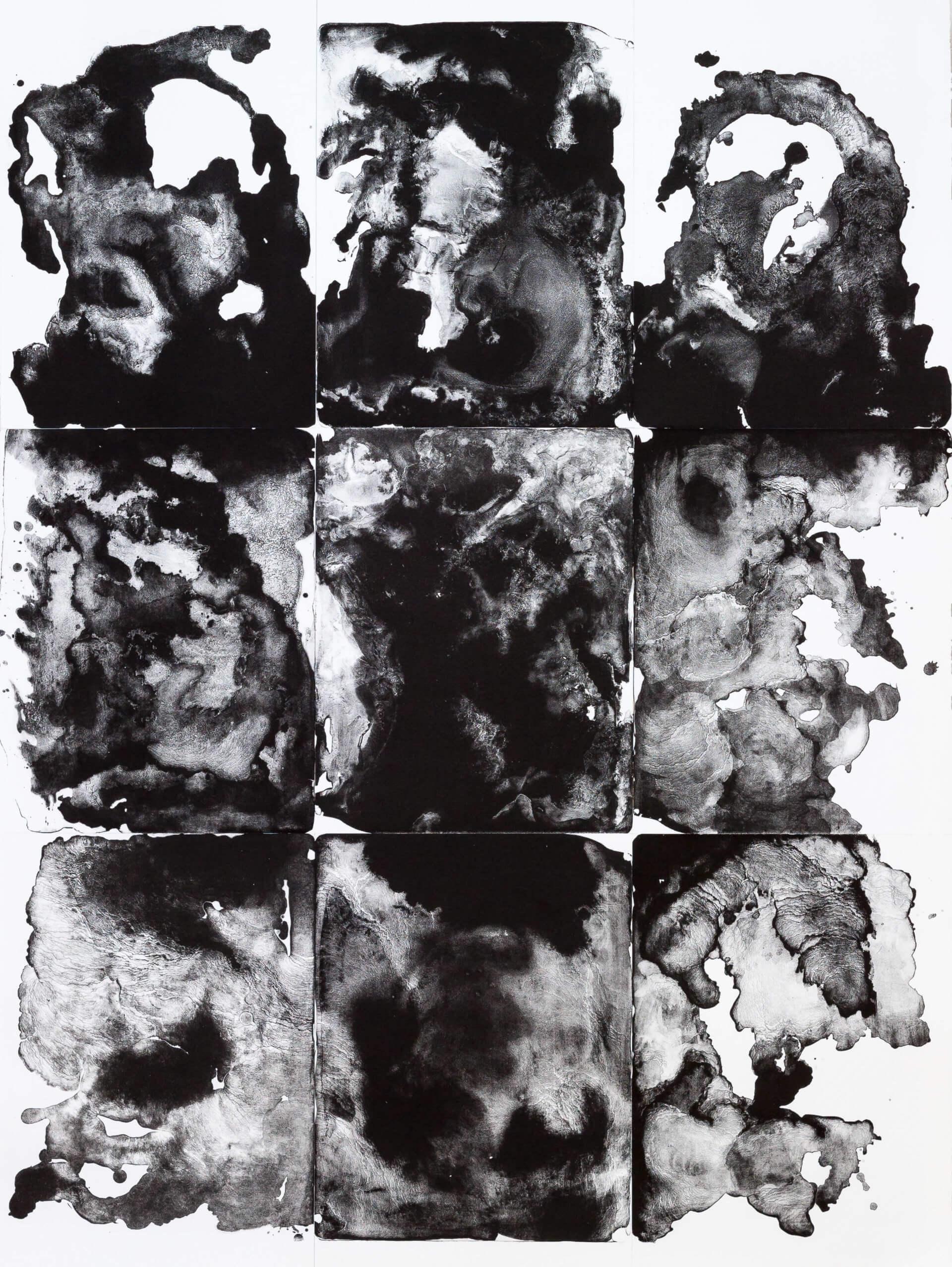 Katharina Albers, organism (e), 2016, Lithographie 9-teilig auf Büttenpapier, Unikat, 153,5x114,5 cm