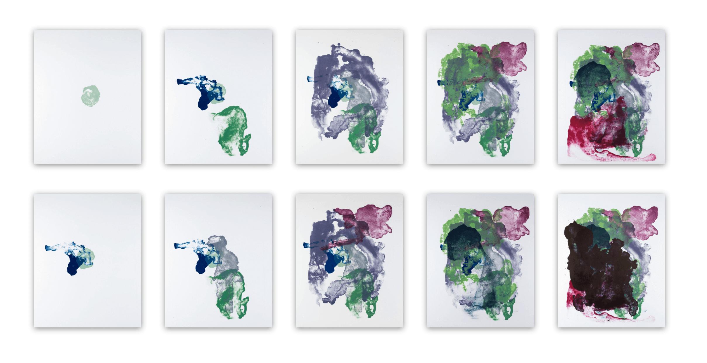 Katharina Albers, organism (growing), 2017, Farblithographie, Unikat 10 Stk. je 56×45 cm