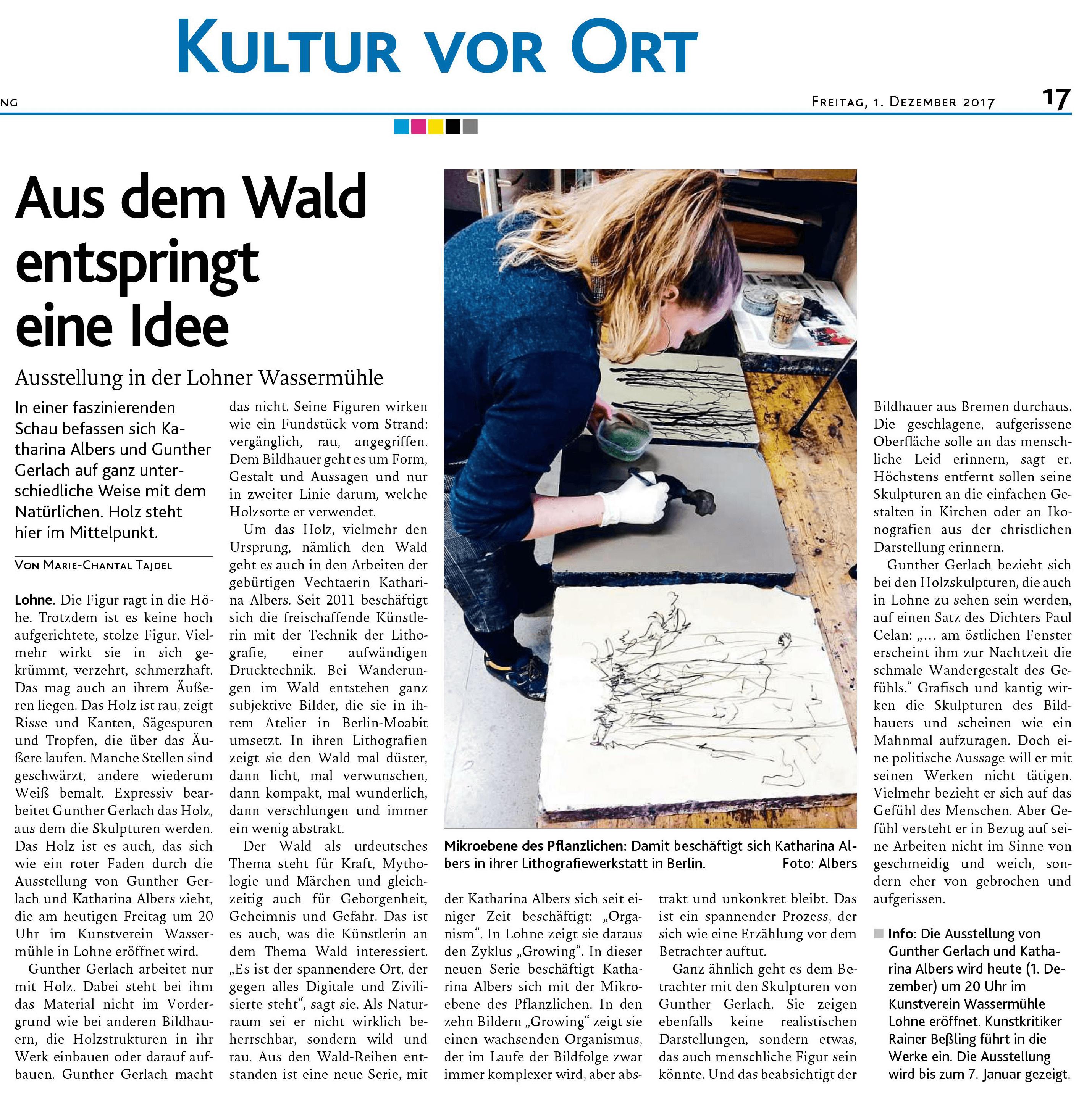 Katharina Albers, Wald, Natur, Lithographie, Kunstverein Die Wassermühle Lohne