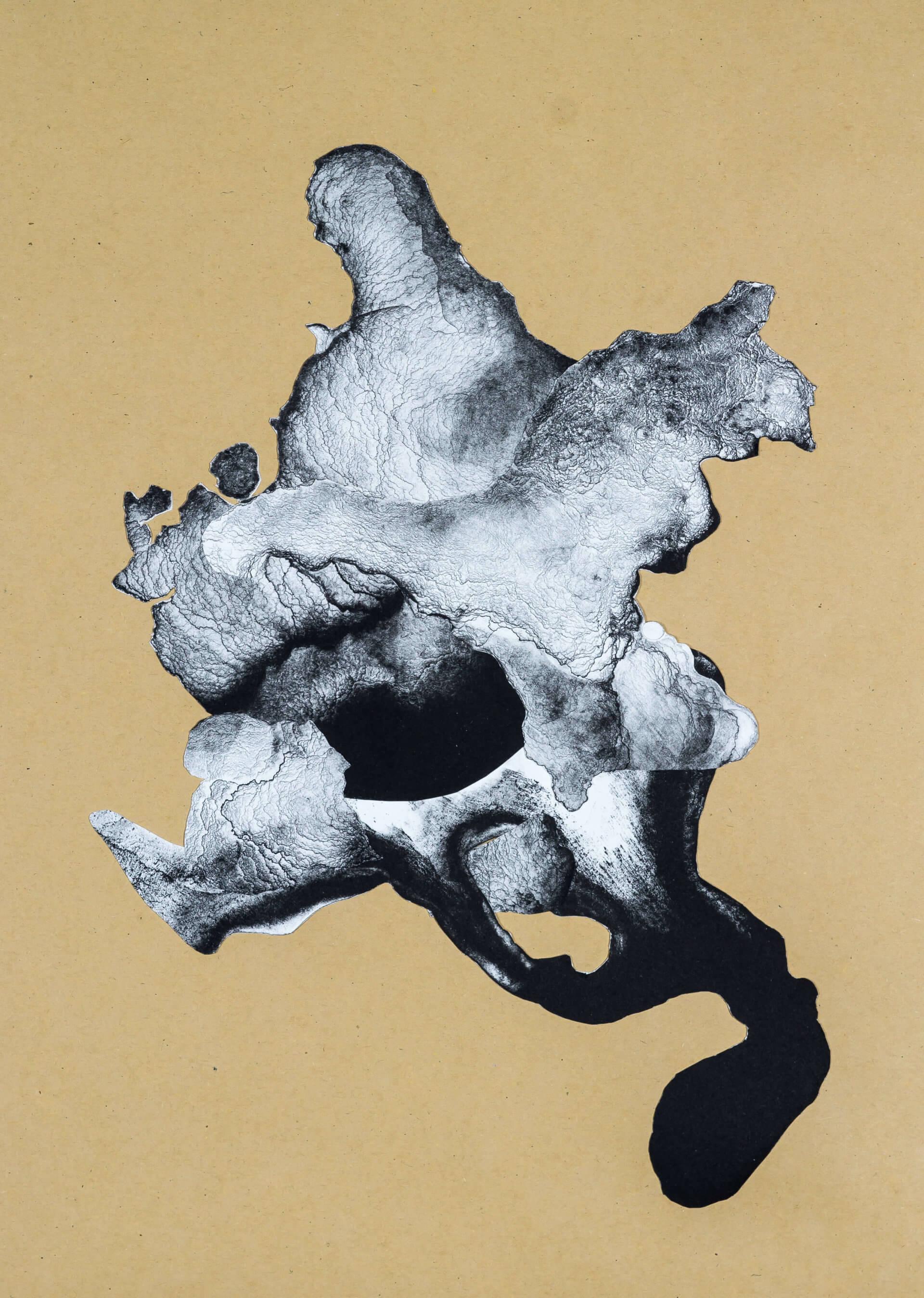 organism (cr) VI, 2018, Lithographiecollage auf Papier, Unikat, 41,5x30cm