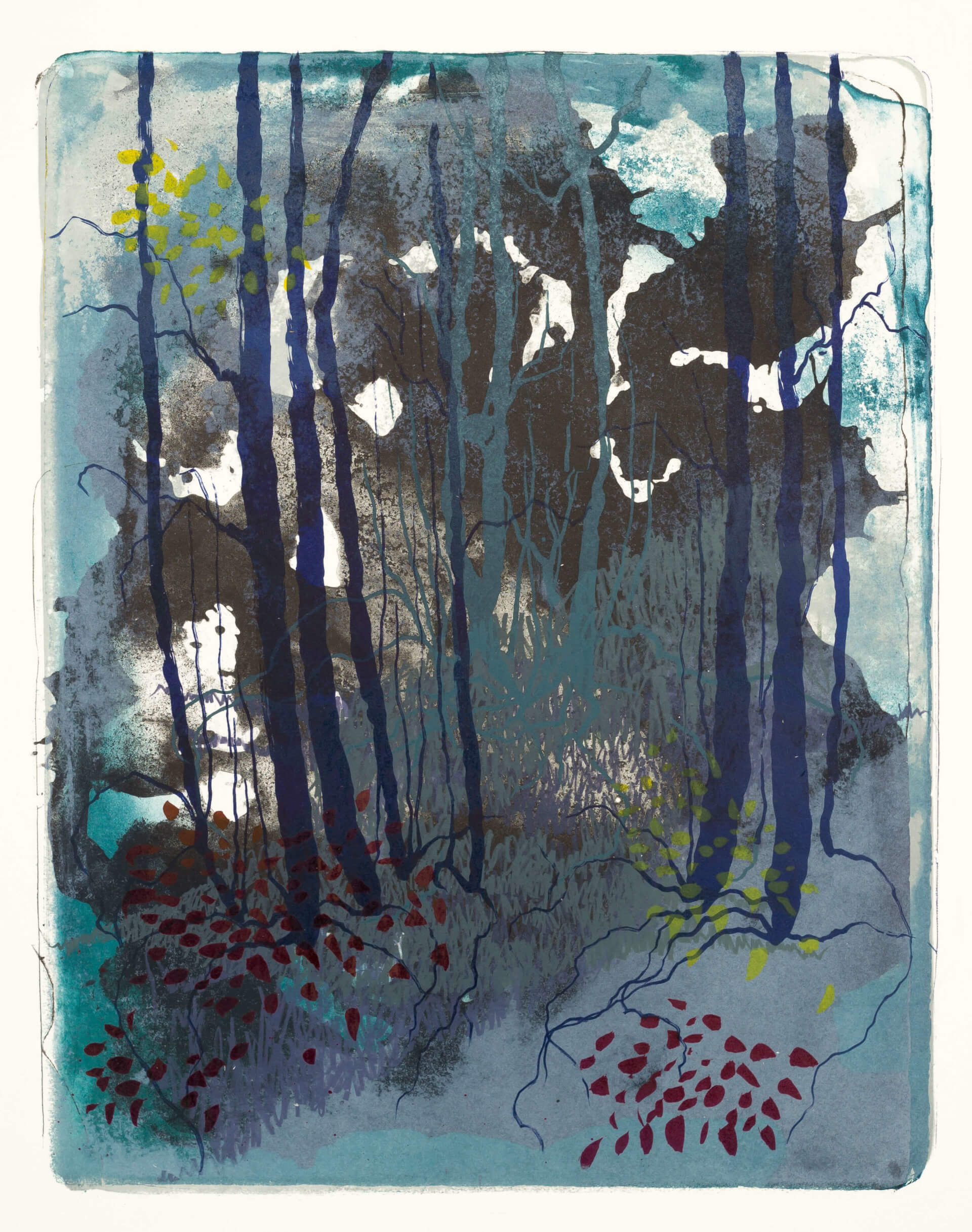 Wald X(K)-I, 2018, Farblithographie, Unikat, 50x40 cm